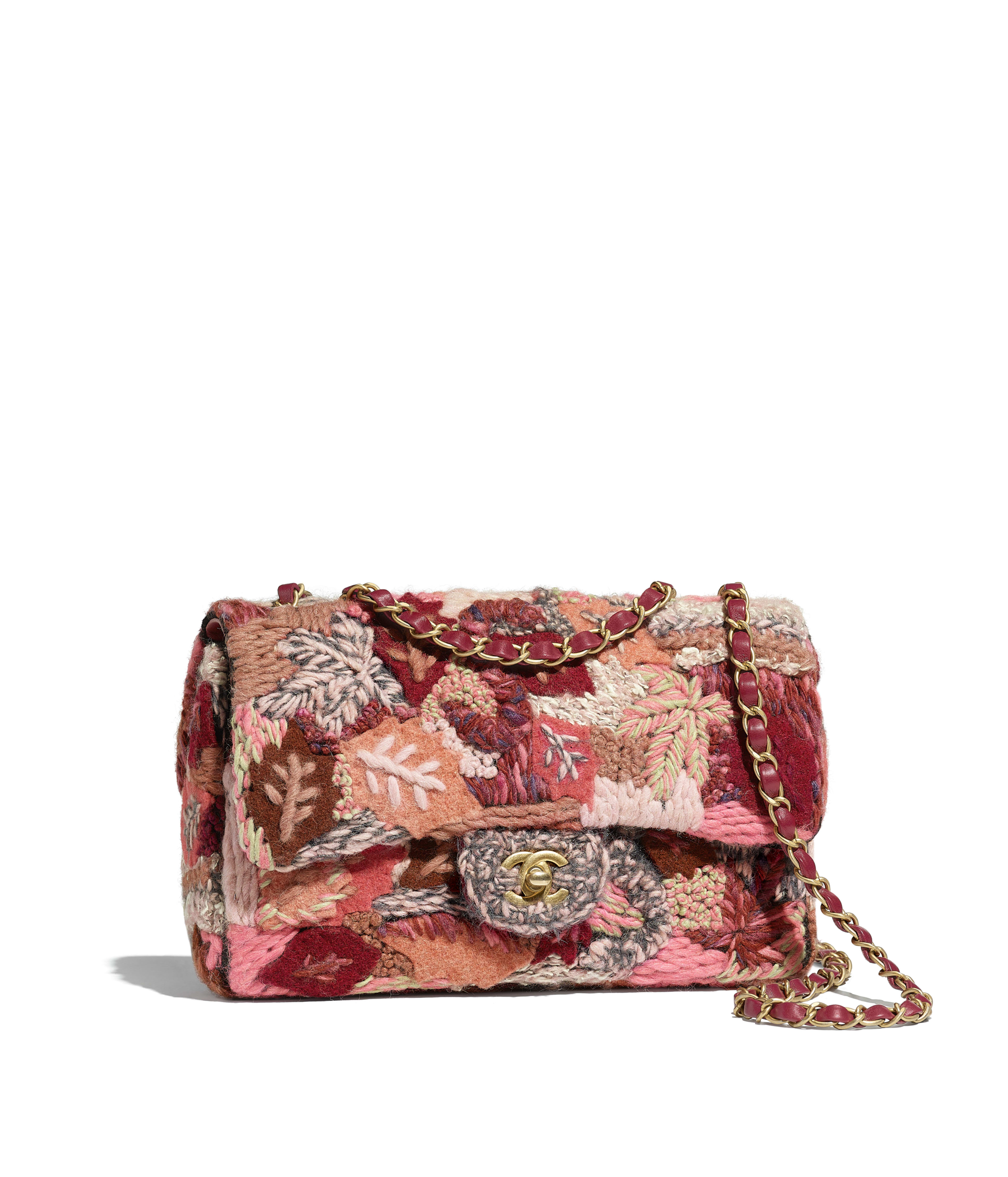 Flap Bag Embroidered Wool Gold Tone Metal Pink Red Gray Ref A57925y839505b526