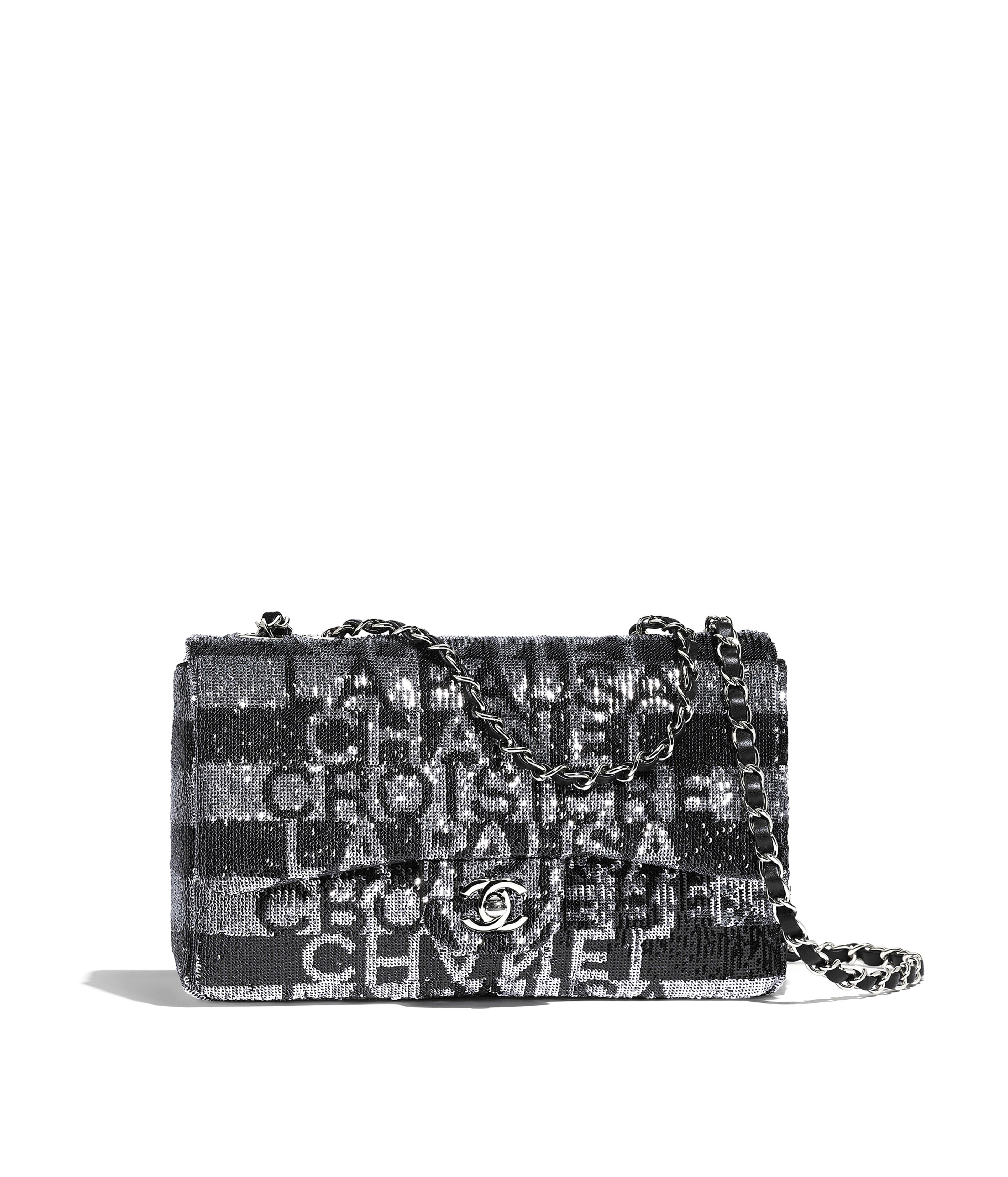 Flap Bag Embroidered Satin Sequins Silver Tone Metal Black Ref As0253y84184c0625