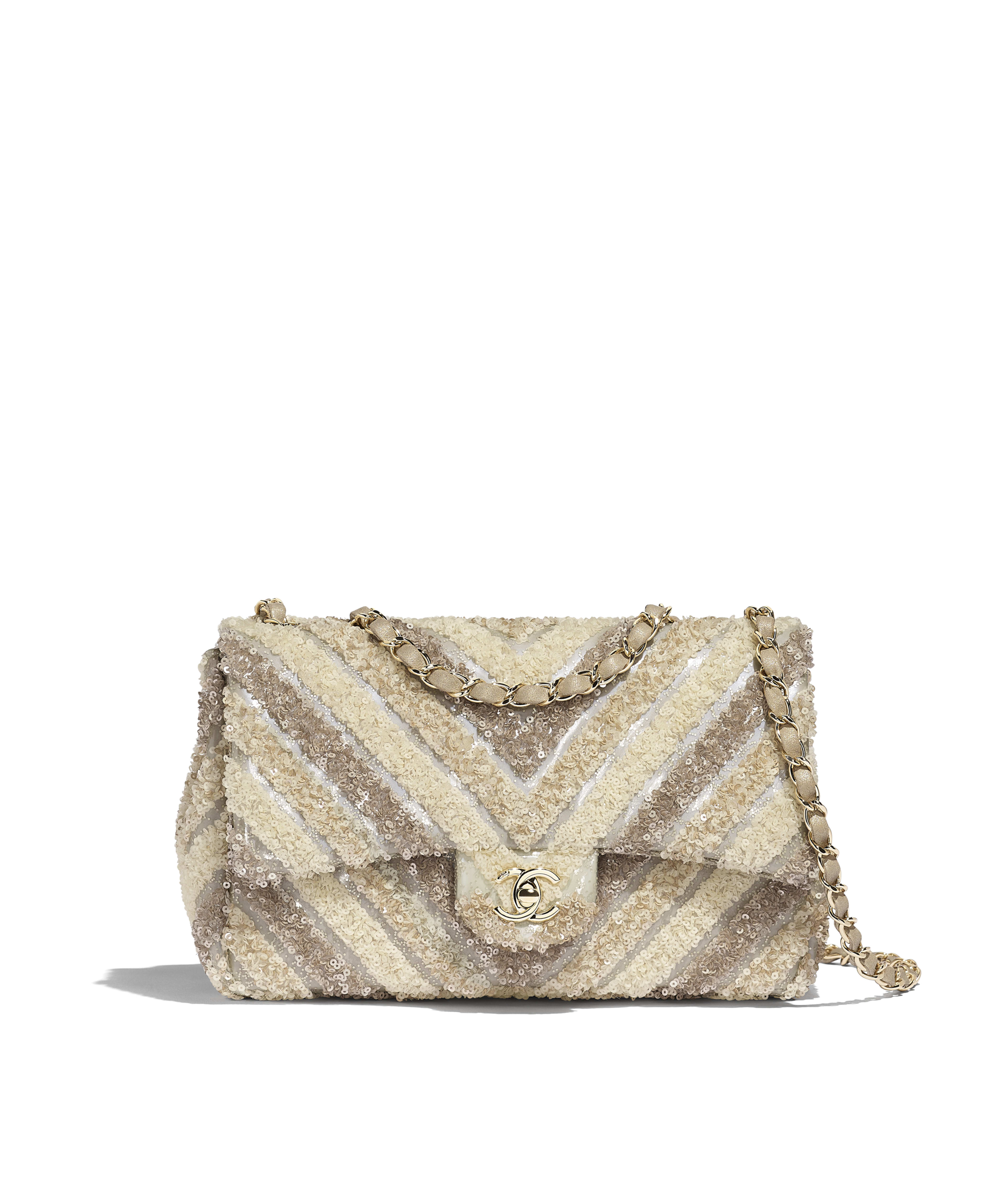 d0542bfb6fe82c Flap Bag PVC, Sequins & Gold-Tone Metal, White Ref. AS0543B0051410601