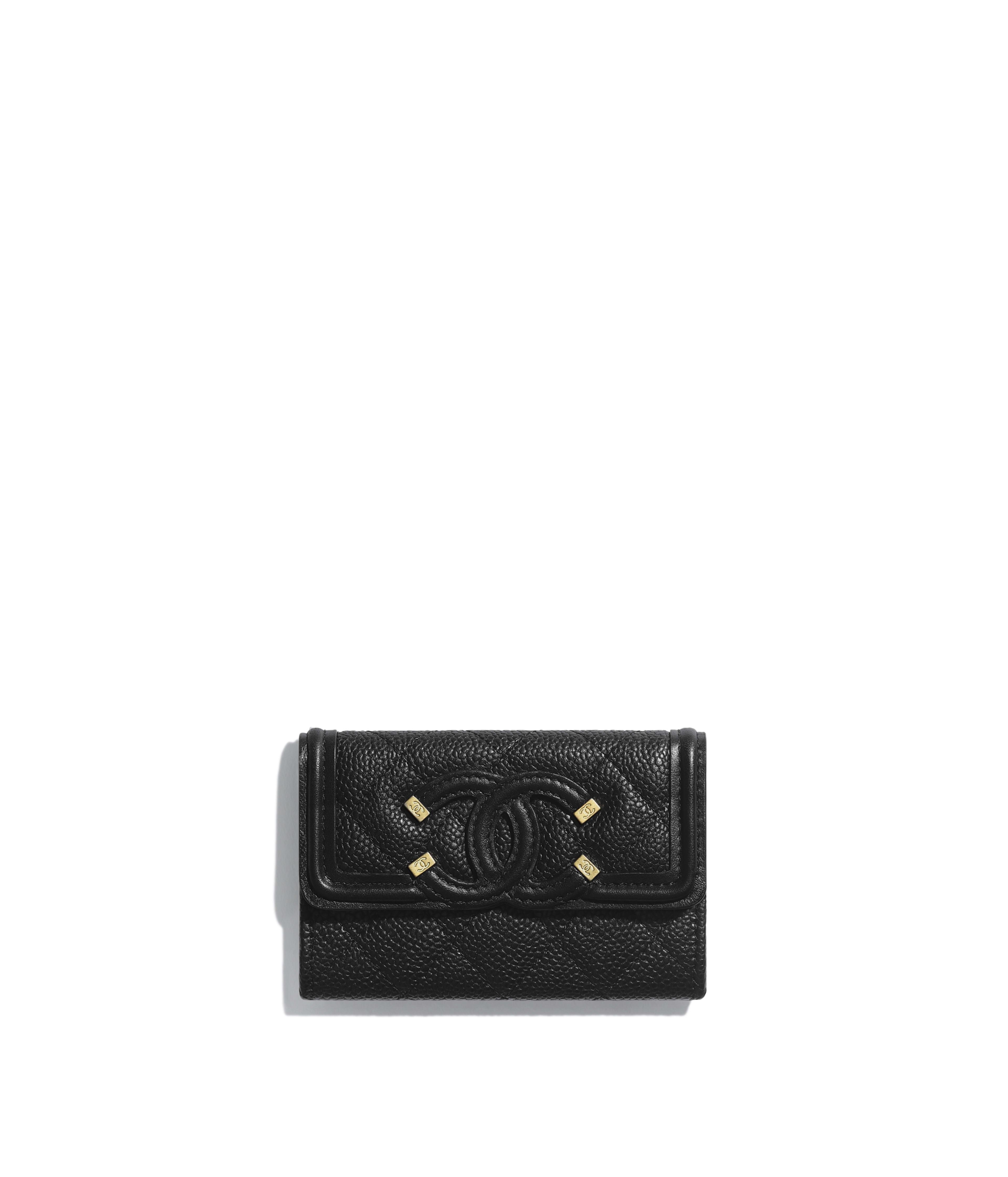 8cbe7975553881 Flap Card Holder Grained Calfskin, Smooth Calfskin & Gold-Tone Metal, Black  Ref. AP0305Y6054294305