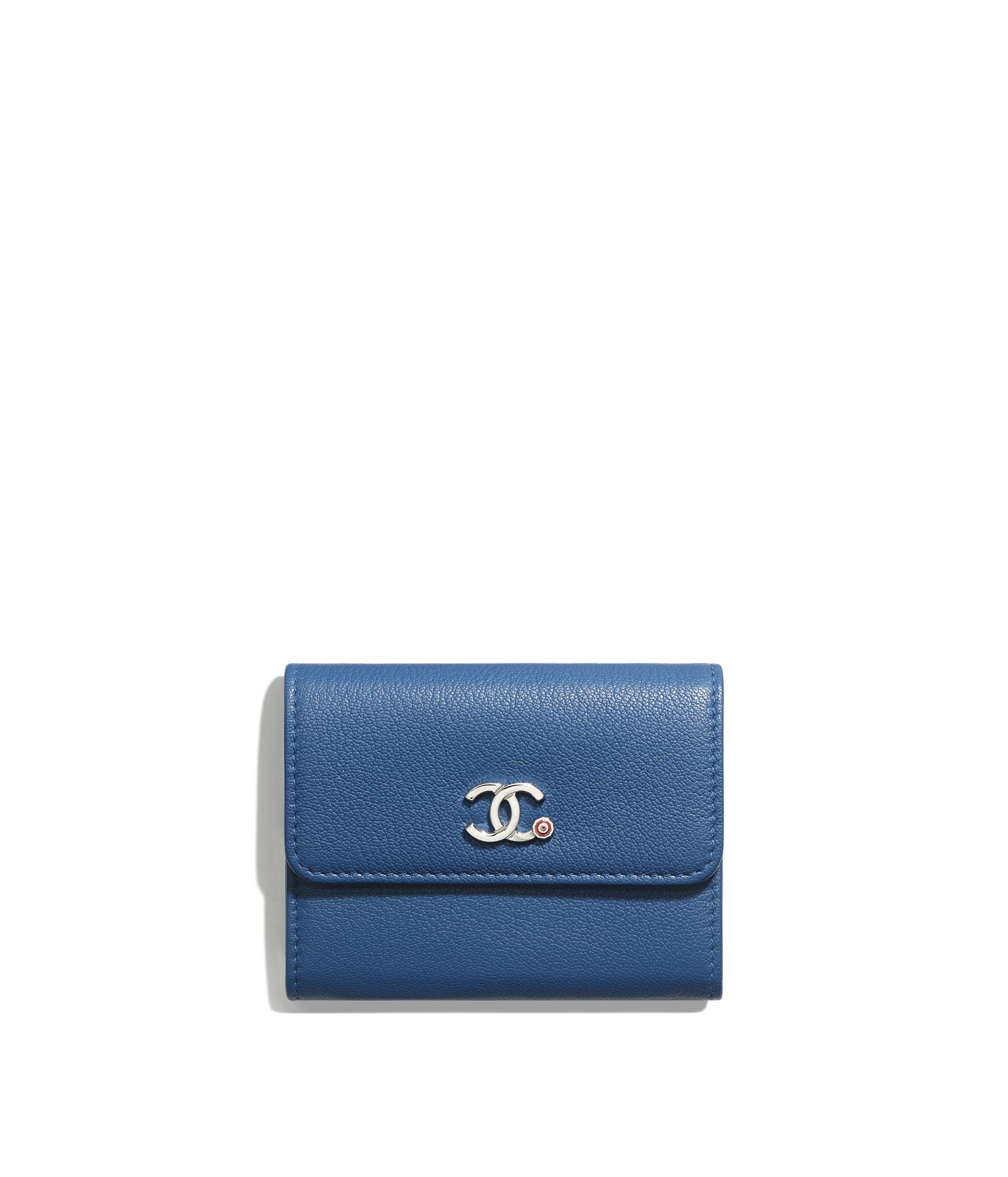 cb6cc891dd69a3 Flap Coin Purse Goatskin & Silver-Tone Metal, Dark Blue Ref.  AP0266B00322N4512