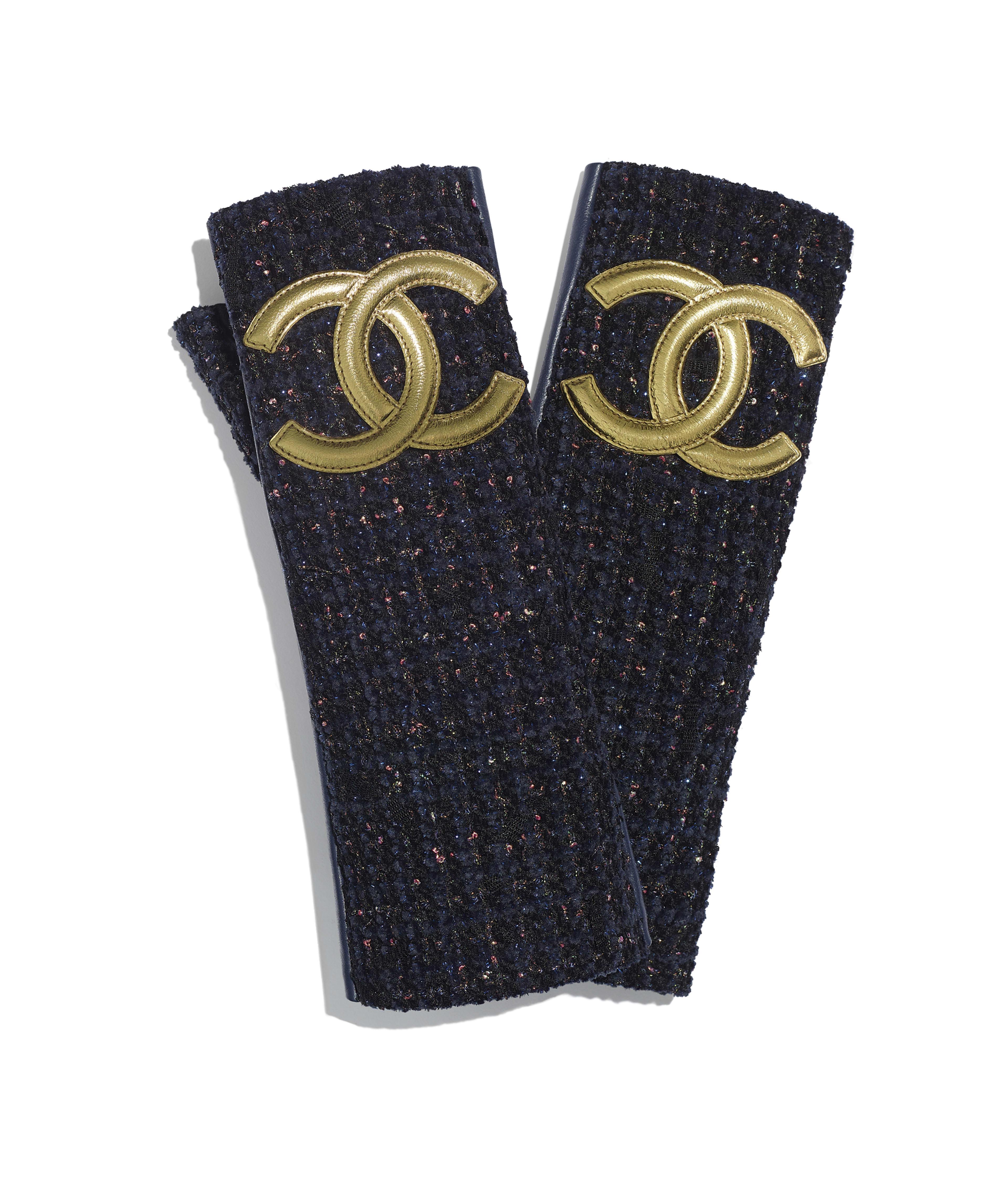 bd9f1cb9 Gloves Lambskin & Tweed, Navy Blue & Gold Ref. AA0731X12739C8789