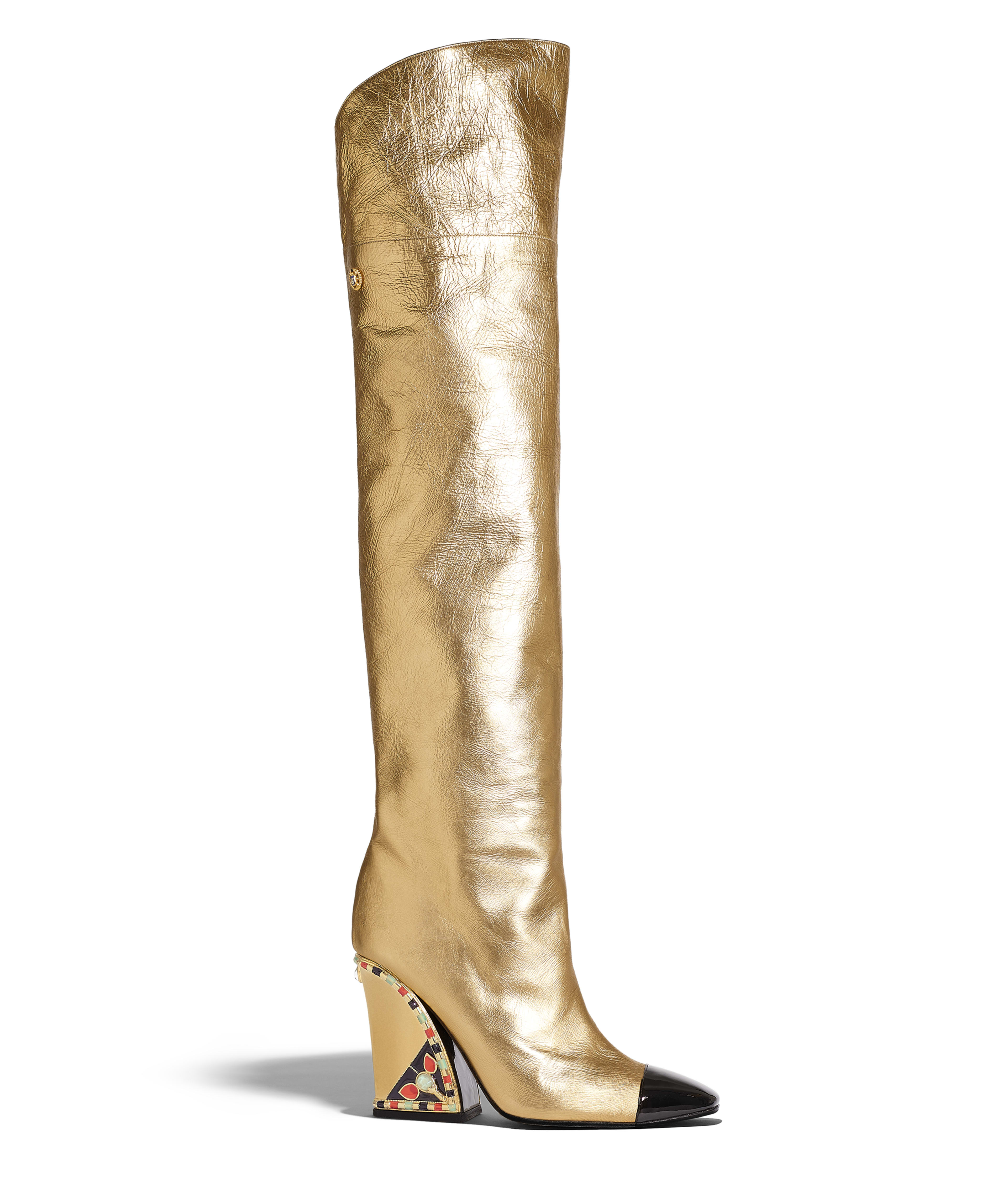 a9fb1c28e44f High Boots Laminated Lambskin & Patent Calfskin, Gold & Black Ref.  G35074Y53382C0369