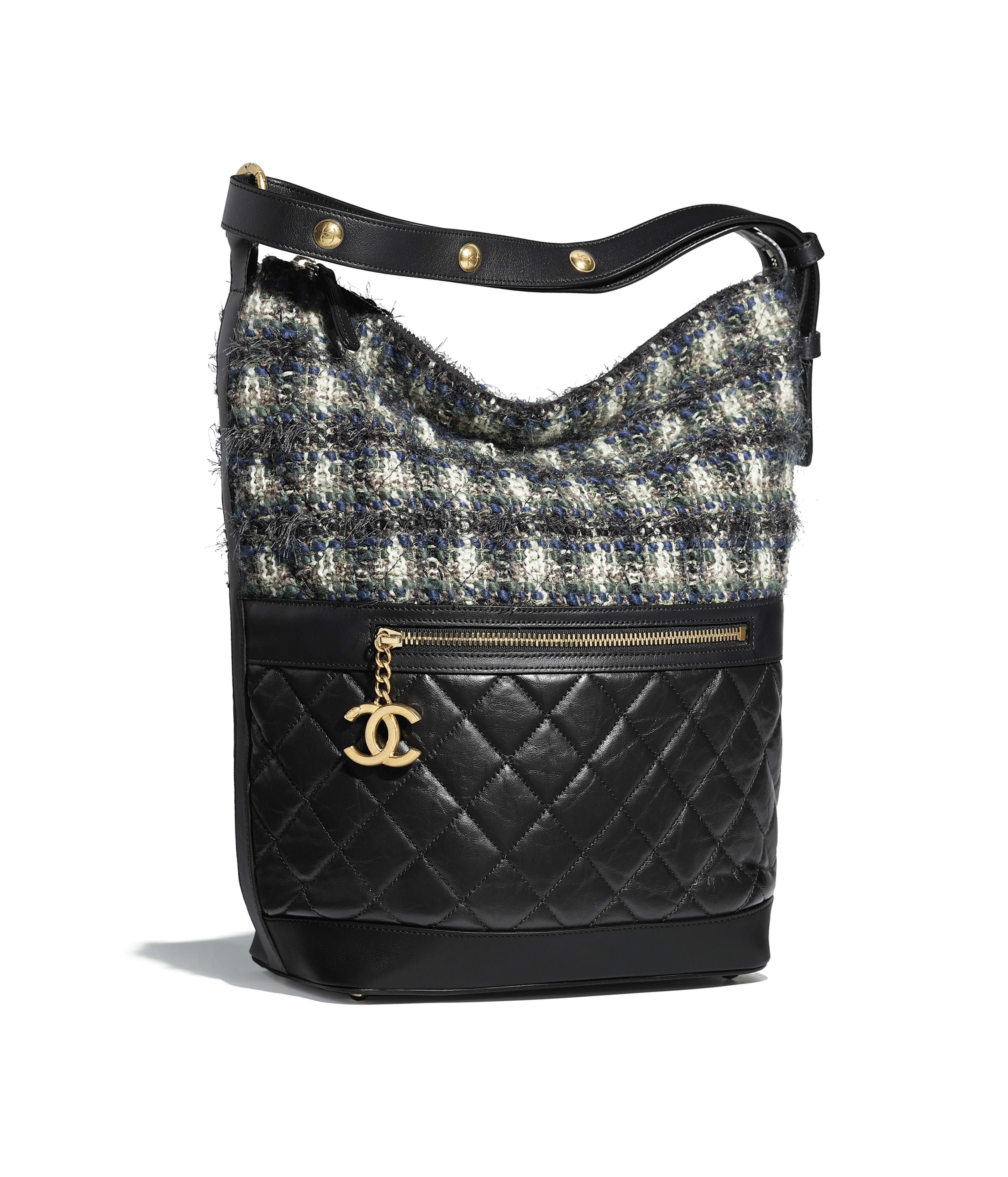 Hobo Handbag Aged Calfskin Tweed Gold Tone Metal Black Blue Green Ecru Ref A57966y83980k1157