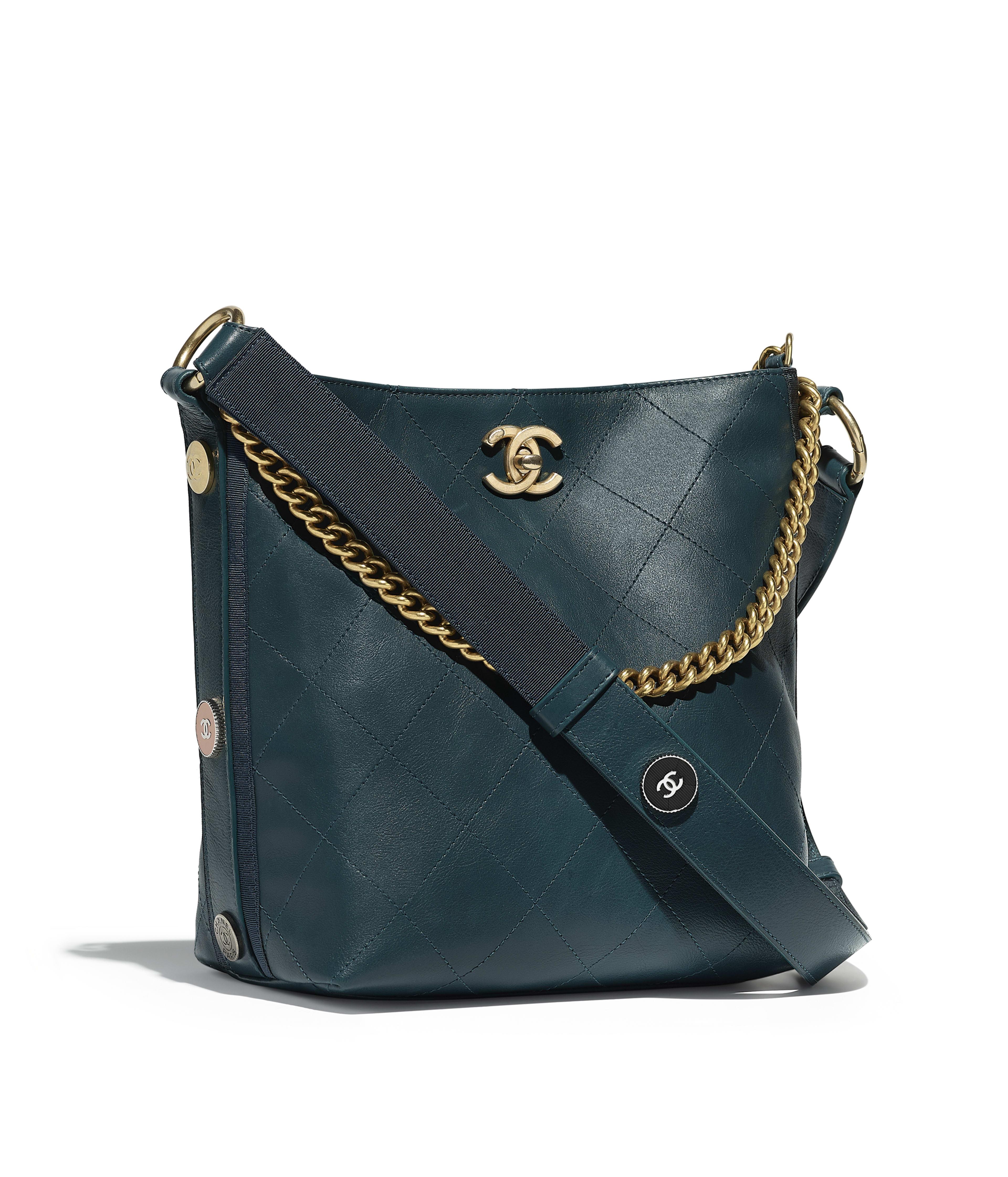 Hobo Handbag Calfskin Grosgrain Gold Tone Metal Blue Ref A57573y838285b403