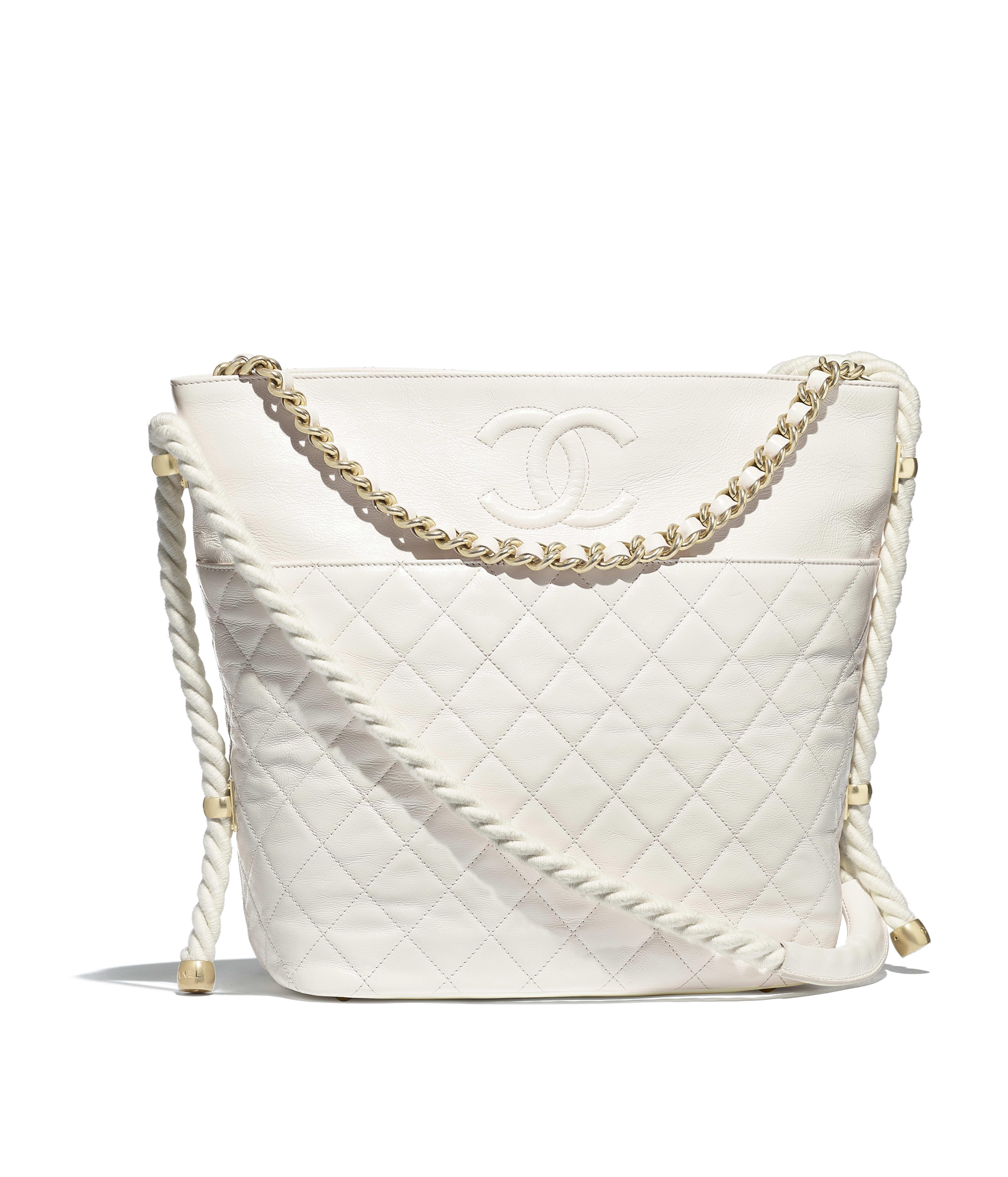 Hobo Handbag Crumpled Calfskin Cotton Gold Tone Metal White Ref As0076y8410010601