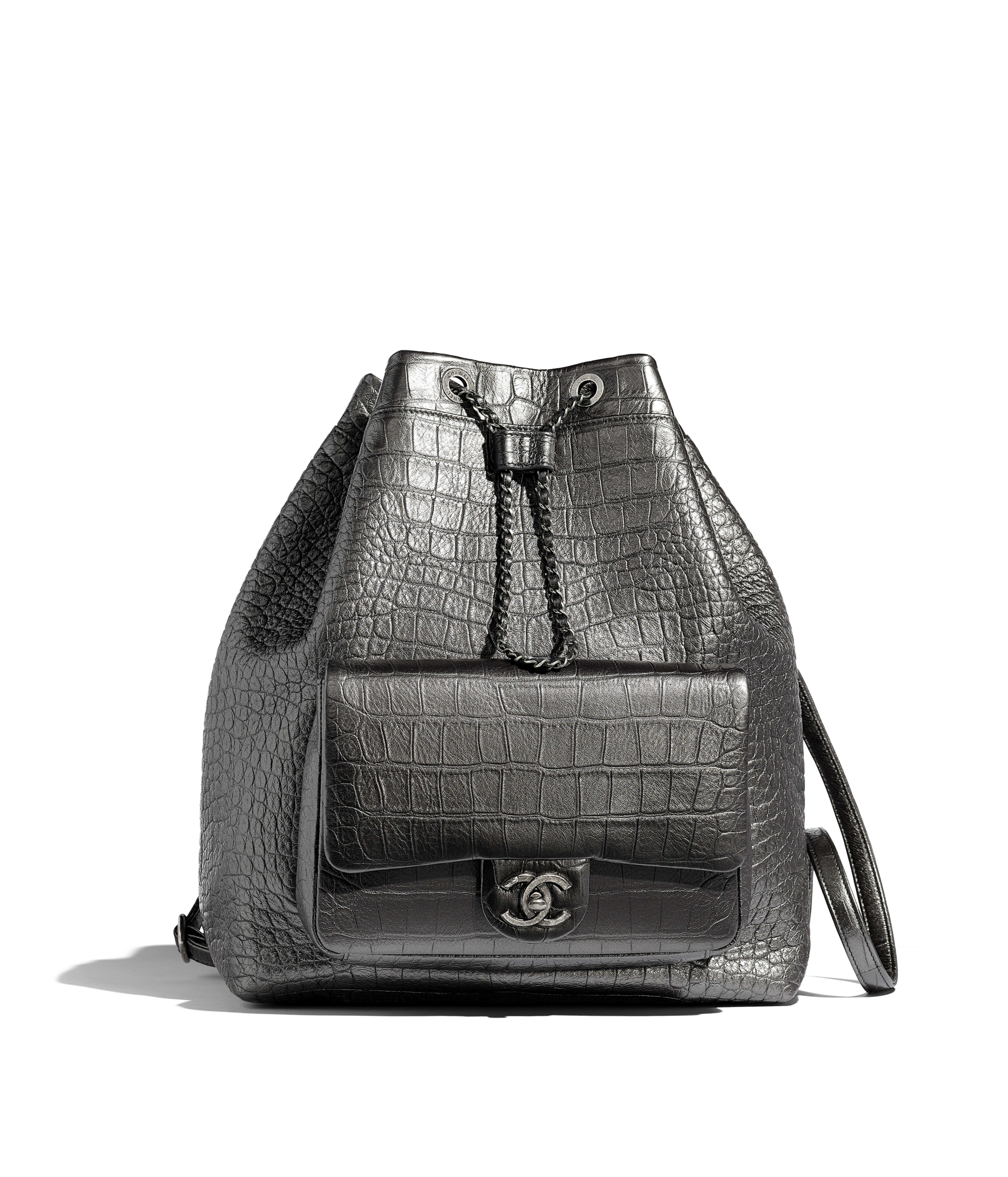 64ed91fbf Large Backpack Metallic Crocodile Embossed Calfskin & Ruthenium-Finish  Metal, Silver Ref. AS0800B00784N4776