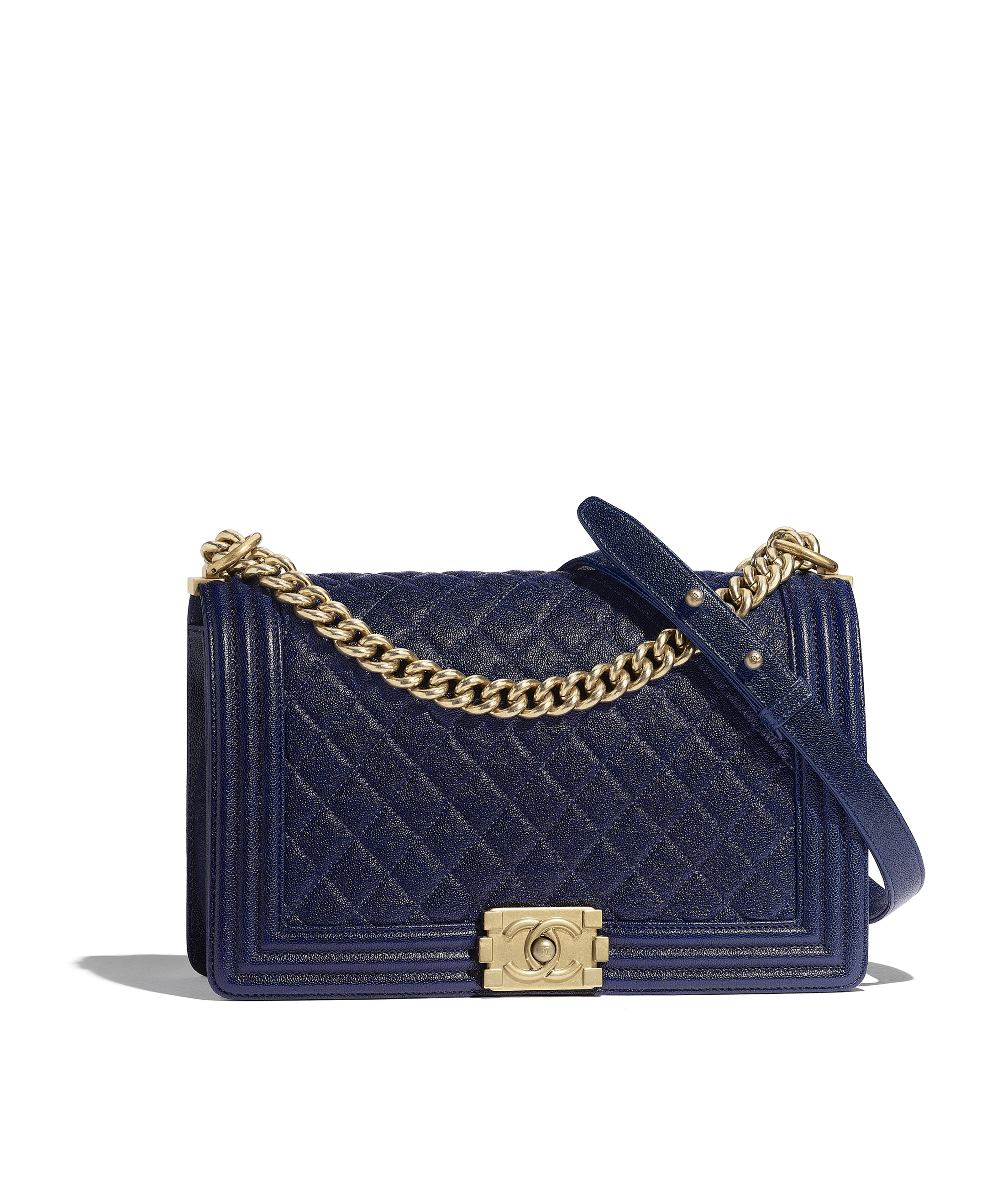 Large Boy Chanel Handbag Grained Calfskin Gold Tone Metal Blue Ref A92193y836215b658