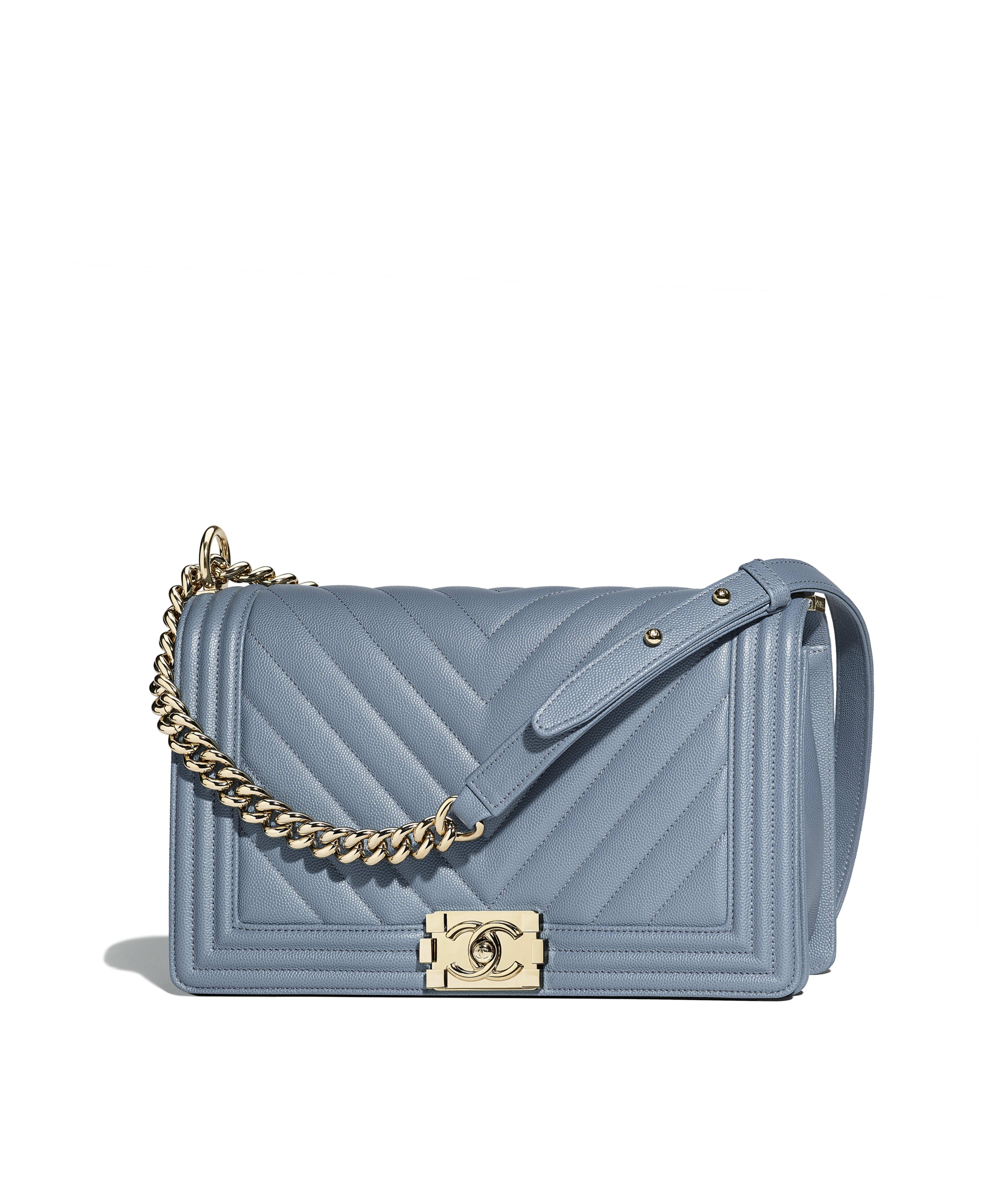 Large Boy Chanel Handbag Grained Calfskin Gold Tone Metal Blue Ref A92193y835724b802