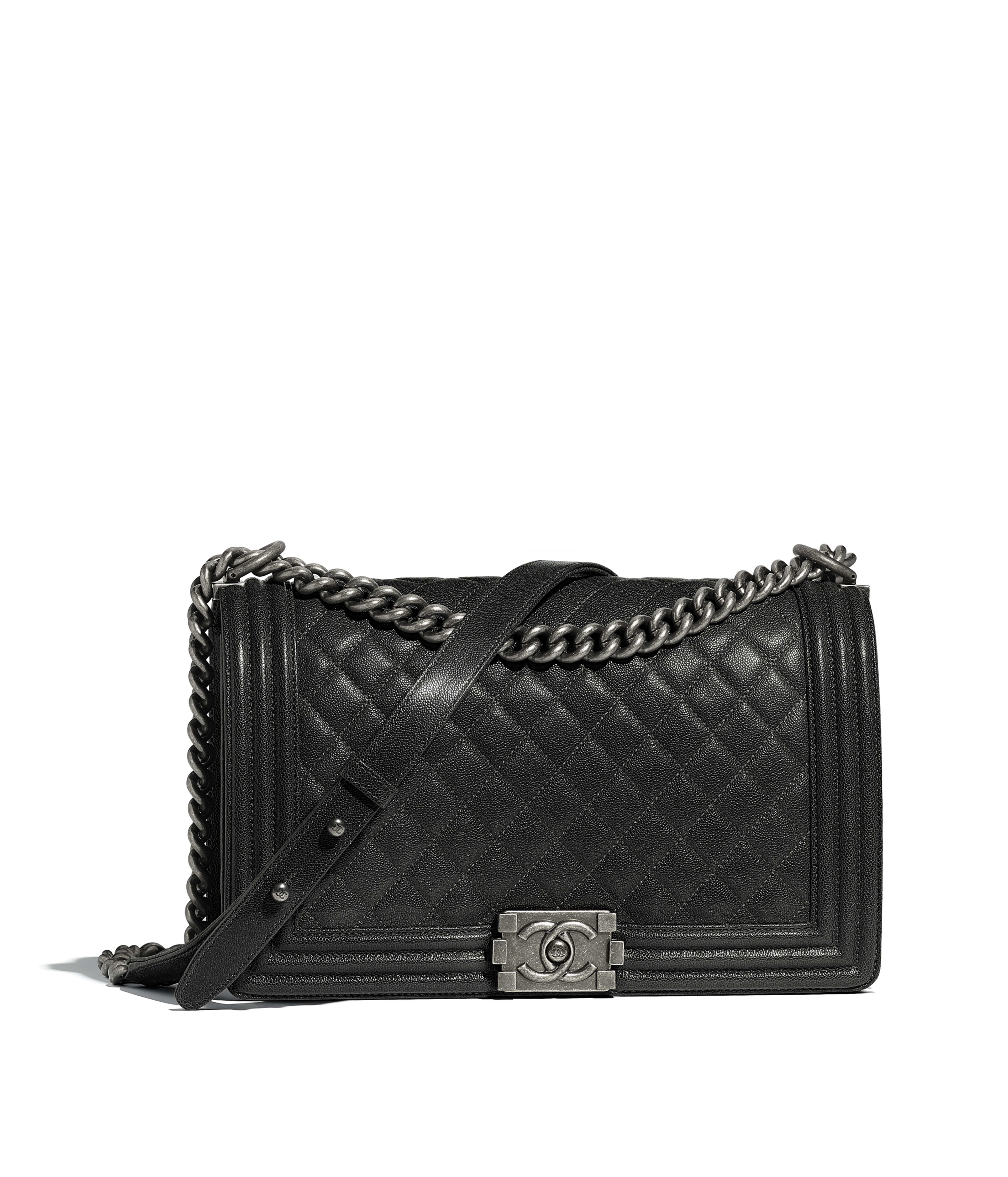 Large Boy Chanel Handbag Grained Calfskin Ruthenium Finish Metal Charcoal Ref A92193y333765b459