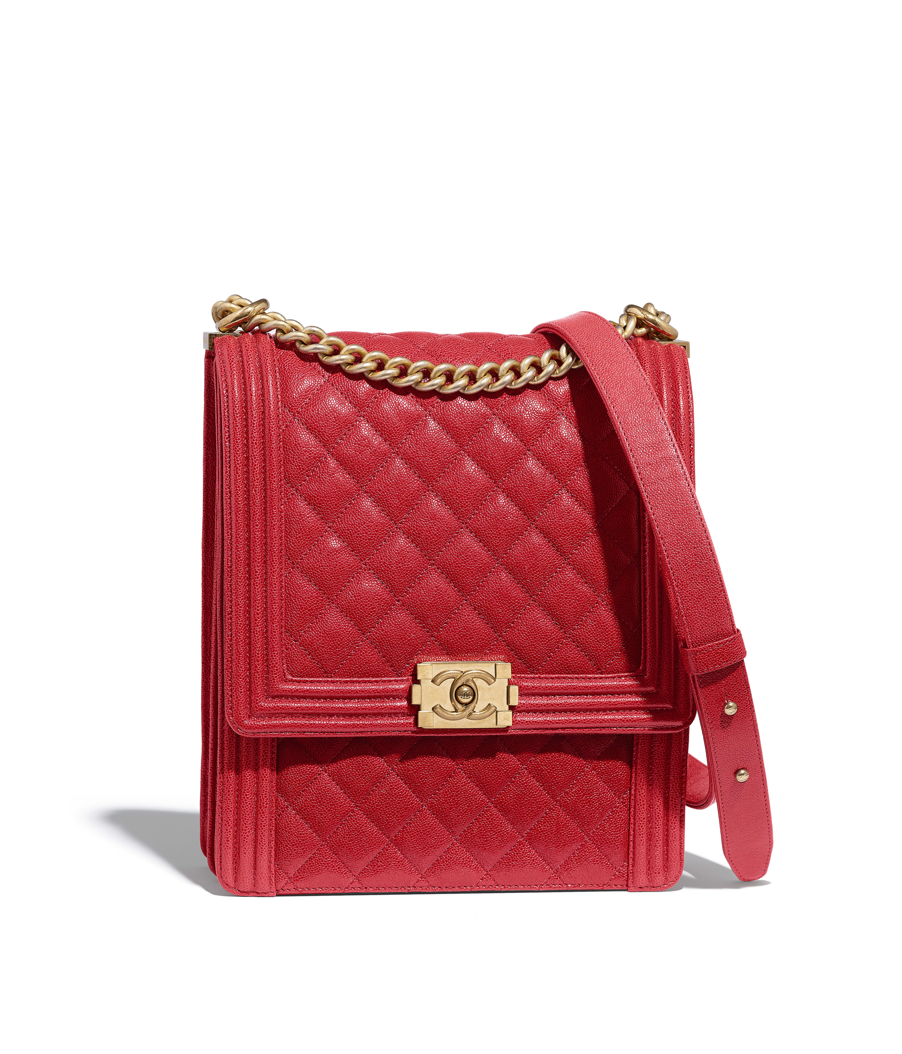 e4108349944a Large BOY CHANEL Handbag Grained Calfskin & Gold-Tone Metal, Red Ref.  AS0132Y836215B652
