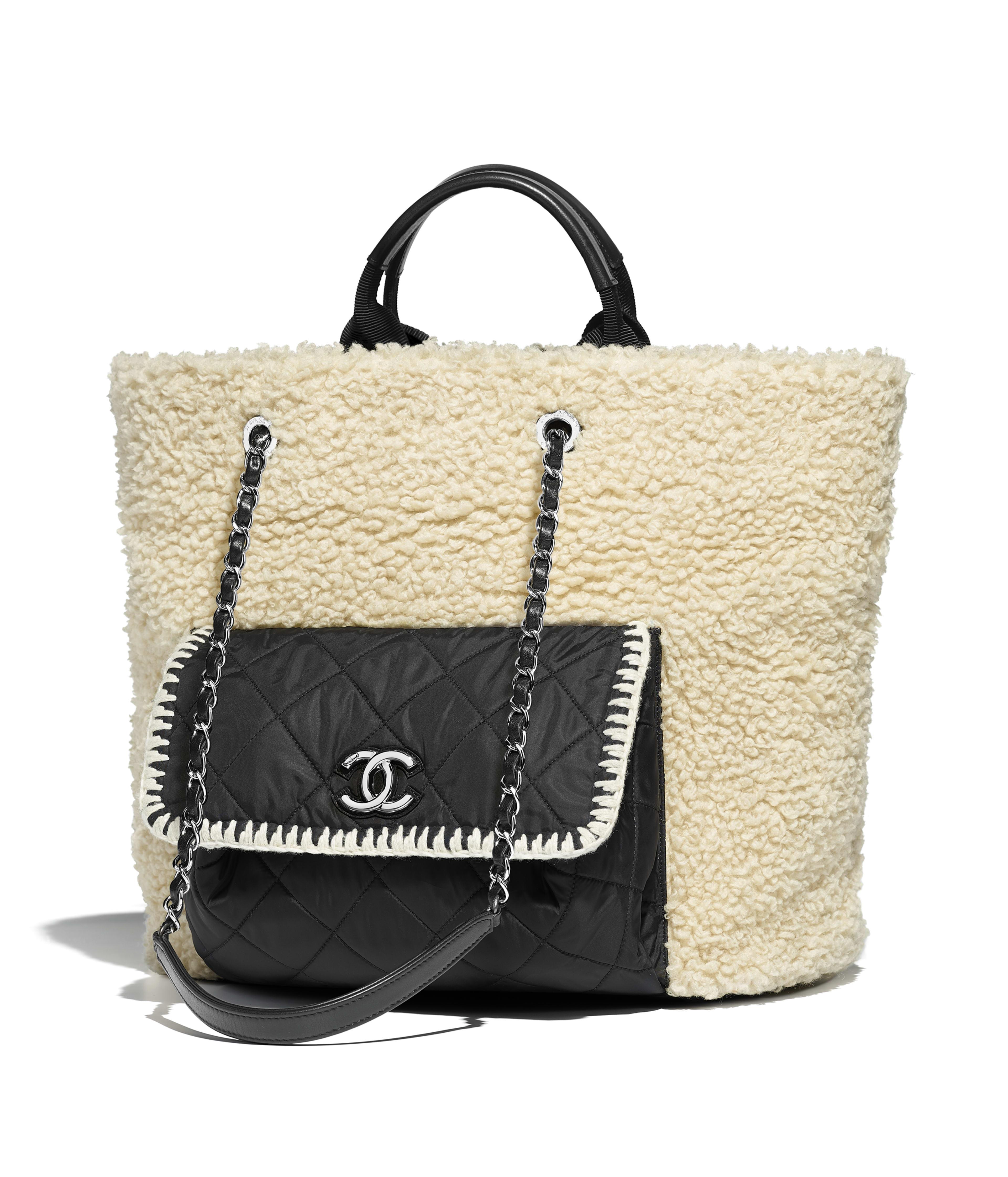 Large Ping Bag Wool Nylon Calfskin Silver Tone Metal Black Ecru Ref A57582y83829c2117