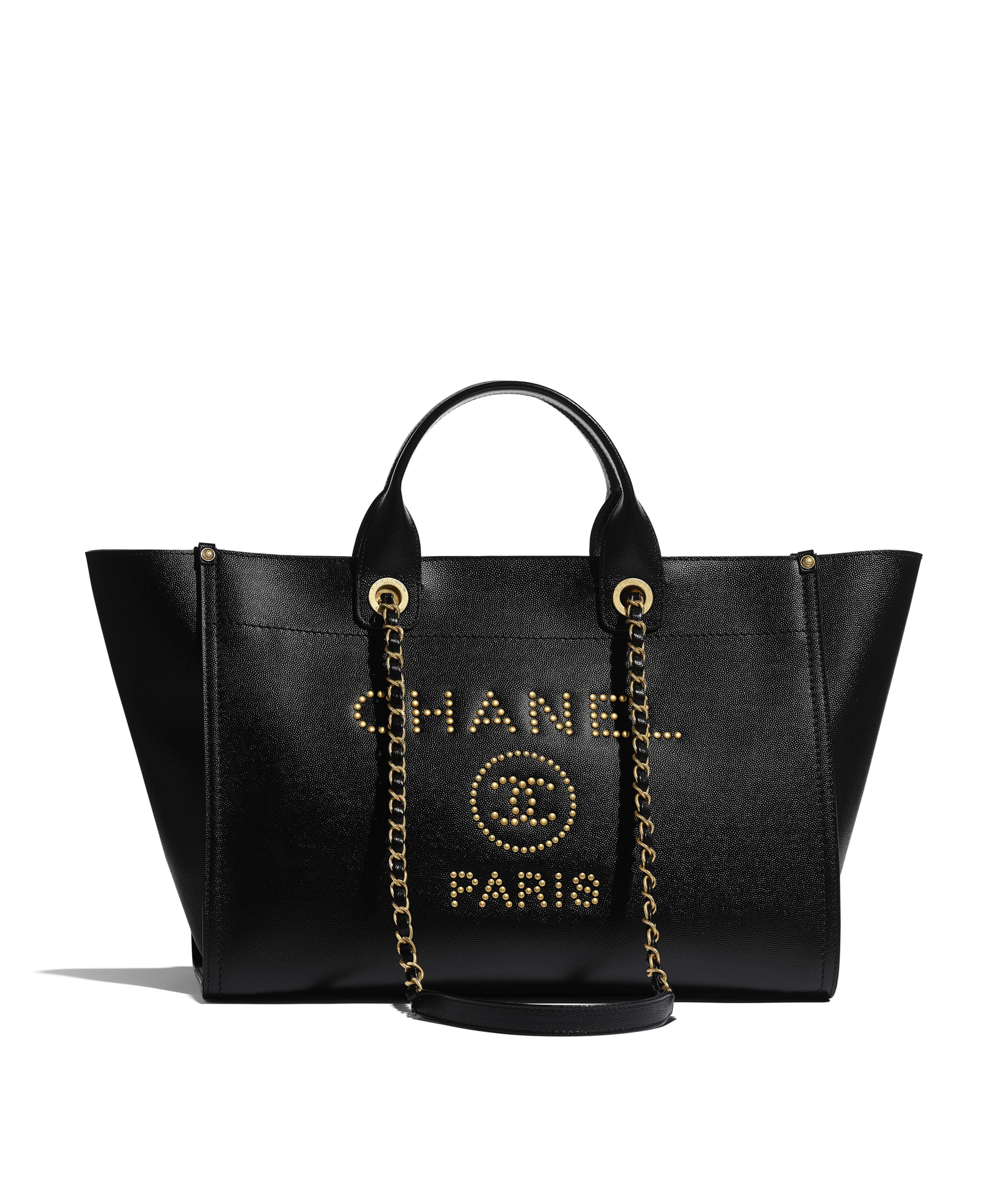 84809c12072 Large Shopping Bag Grained Calfskin & Gold-Tone Metal, Black Ref.  A57067Y8404694305