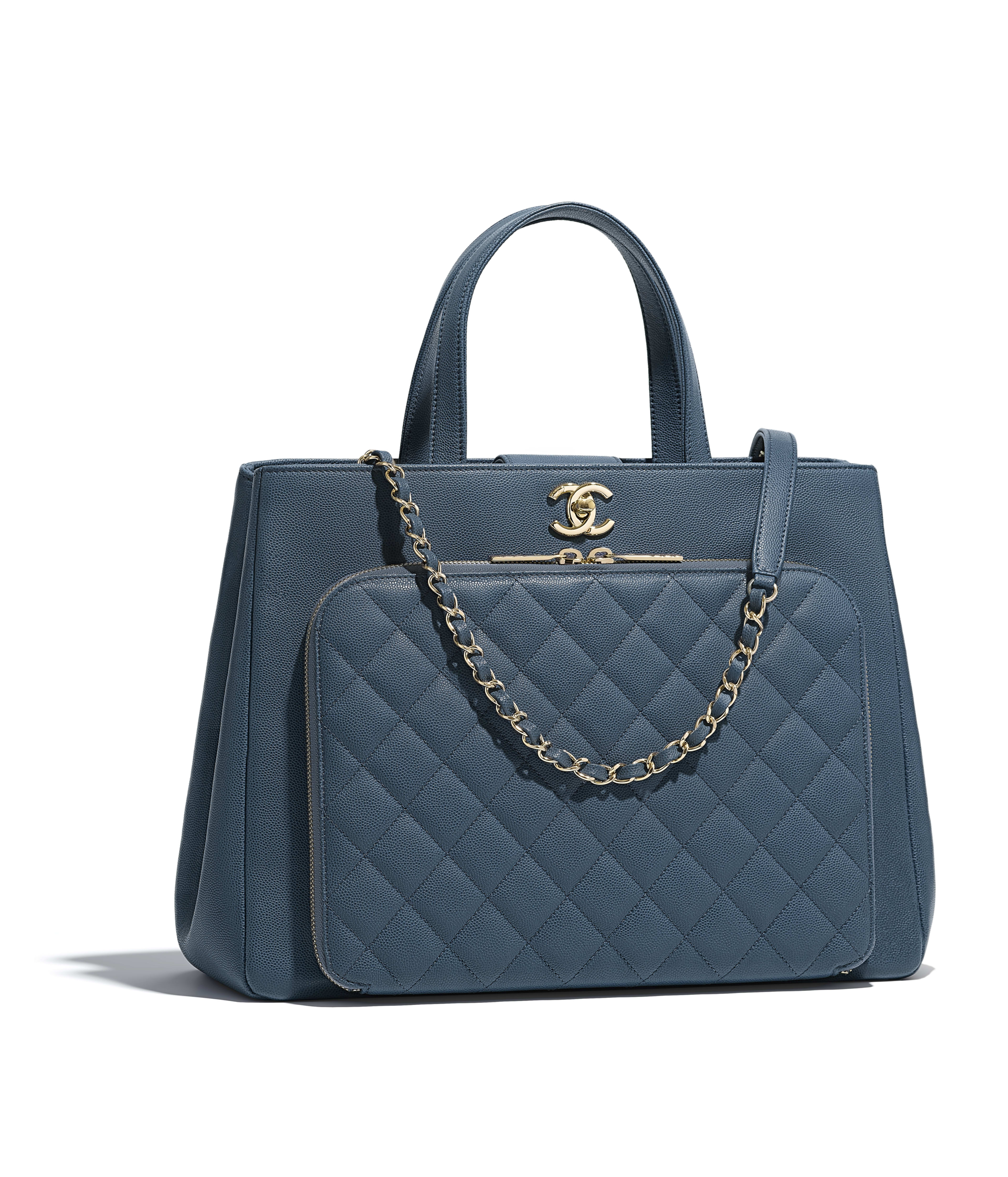 Large Ping Bag Grained Calfskin Gold Tone Metal Blue Ref A93795y822245b589