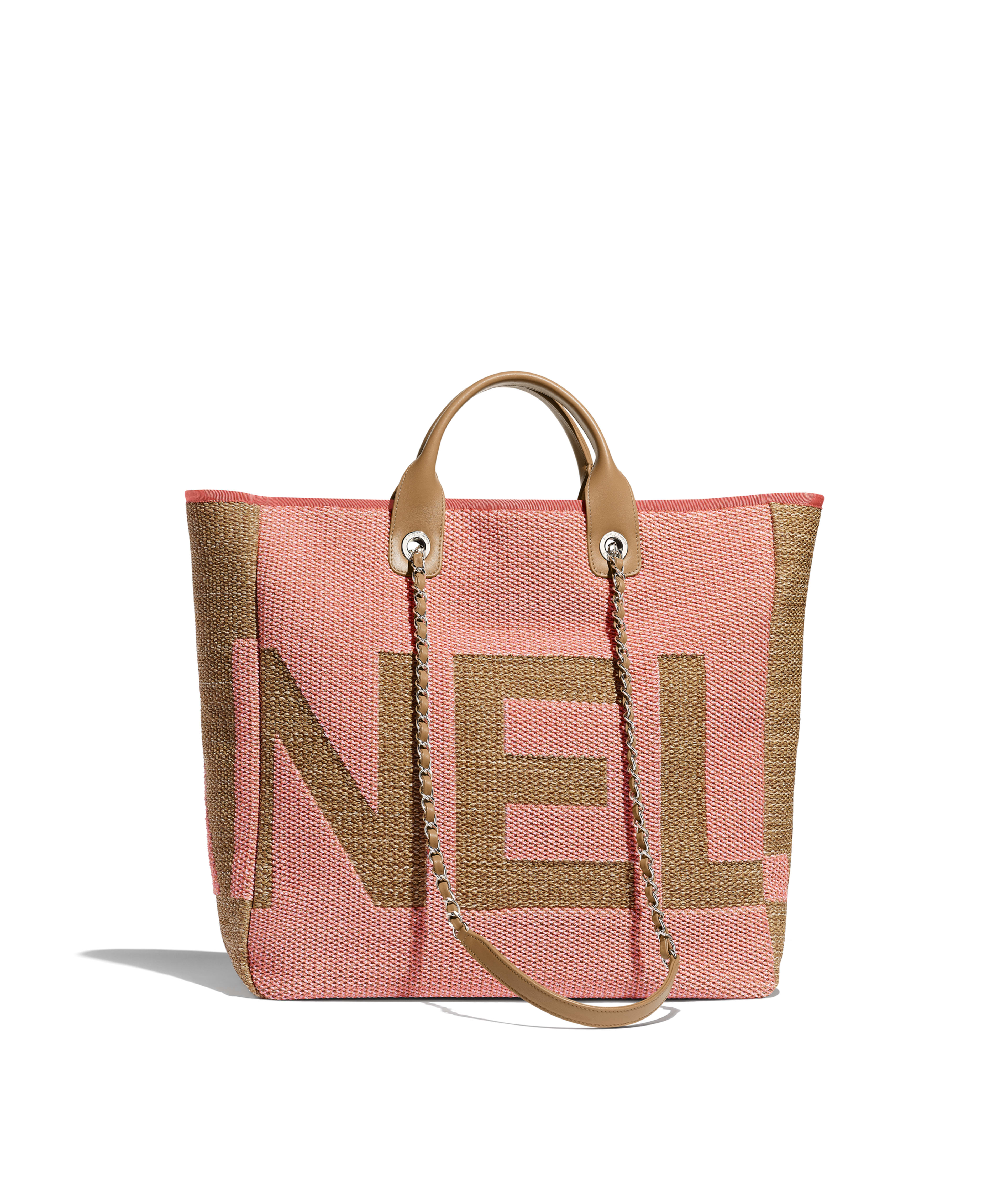 bf5b1ab5348d Large Shopping Bag Mixed Fibers, Viscose, Calfskin & Silver-Tone Metal, Dark  Pink, Pink & Beige Ref. A57161B00380N4569