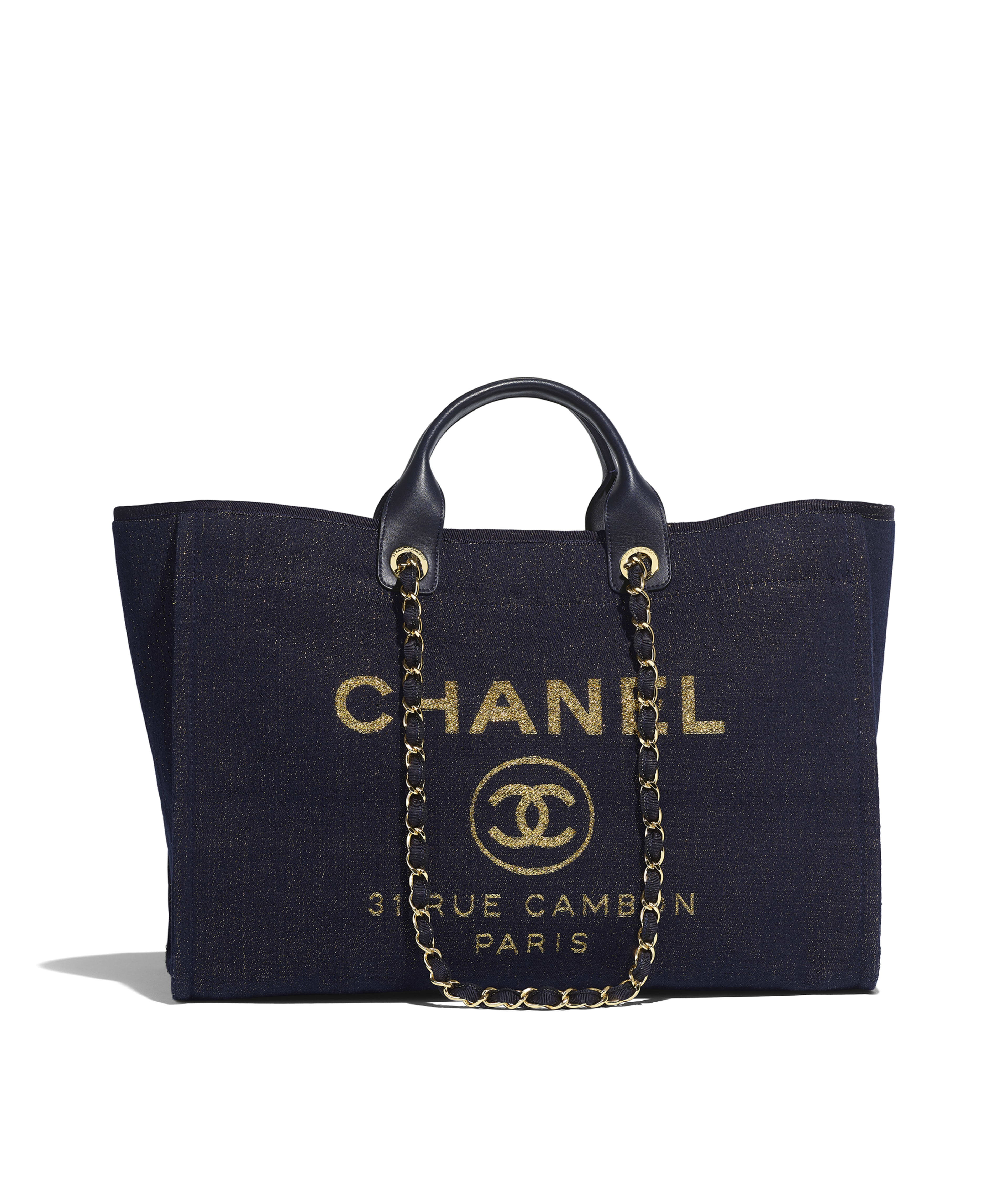 7989568f7 Large Shopping Bag Mixed Fibers, Lurex Canvas & Gold-Tone Metal, Navy Blue  & Gold Ref. A93786B01008N4804