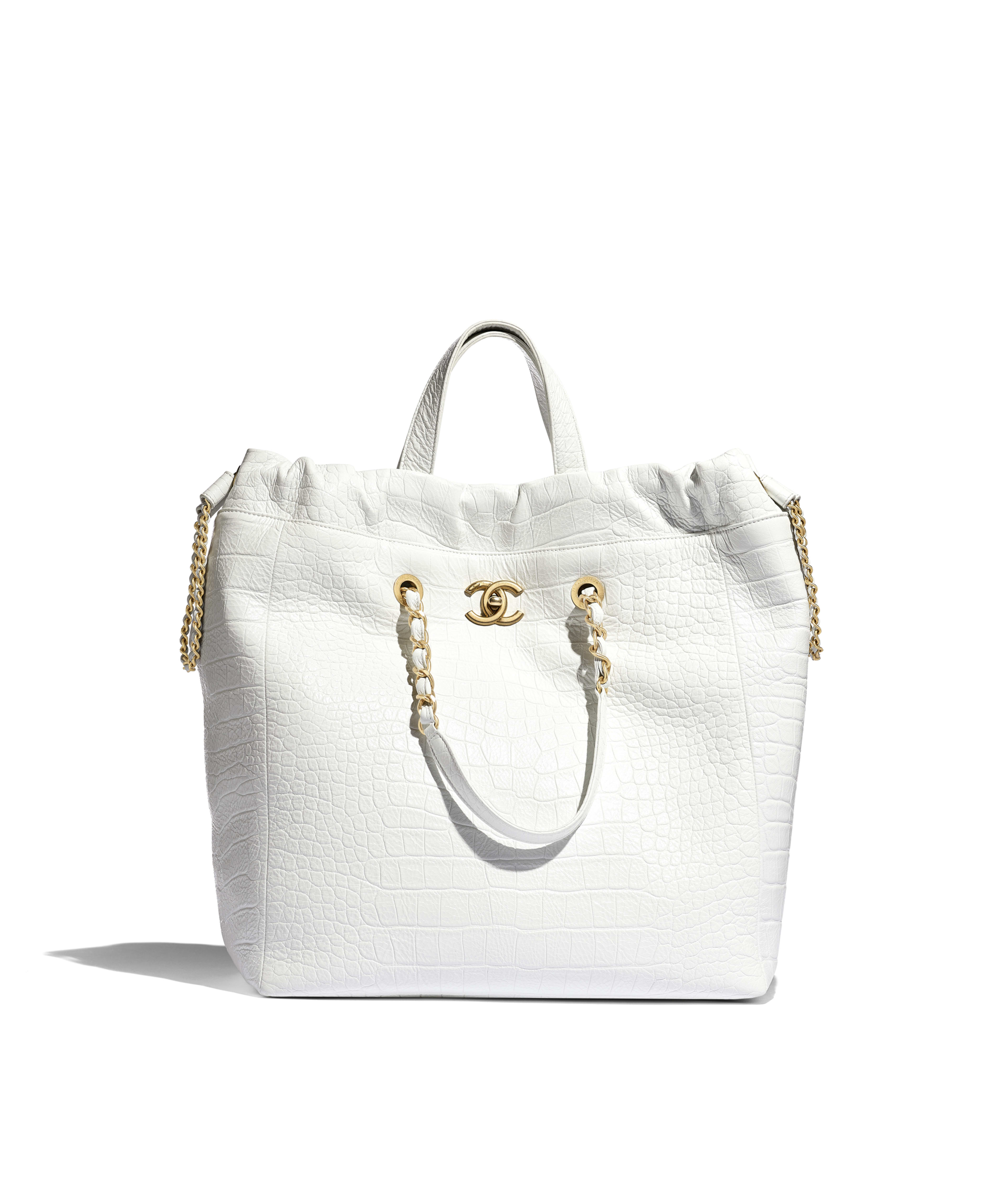 a4e2f96a3 Large Shopping Bag Crocodile Embossed Printed Leather & Gold-Tone Metal,  White Ref. AS0801B0099710601