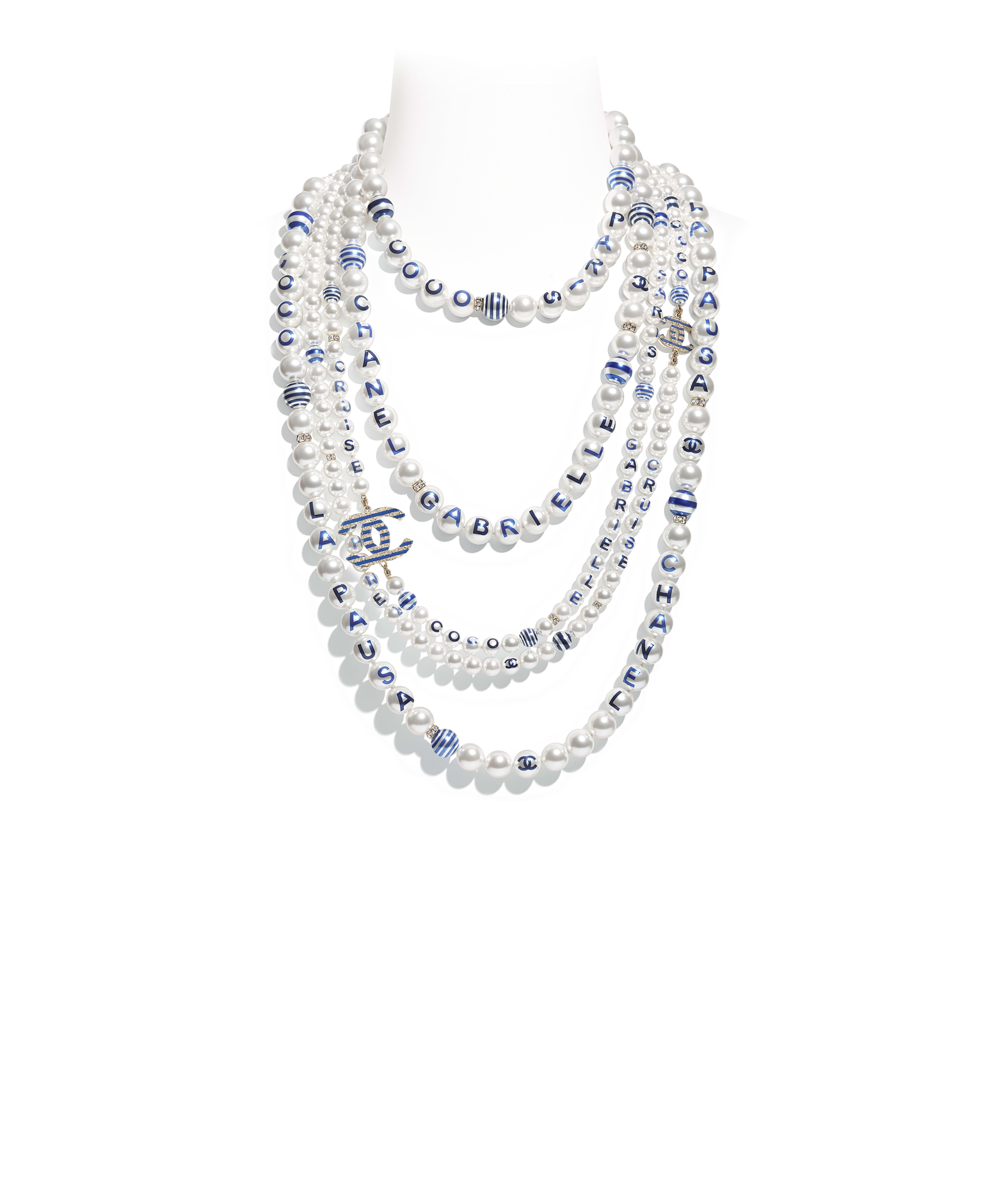 Long Necklace Metal Gl Pearls Str Resin Gold Pearly White Crystal Blue Ref Ab0763y47468z8893