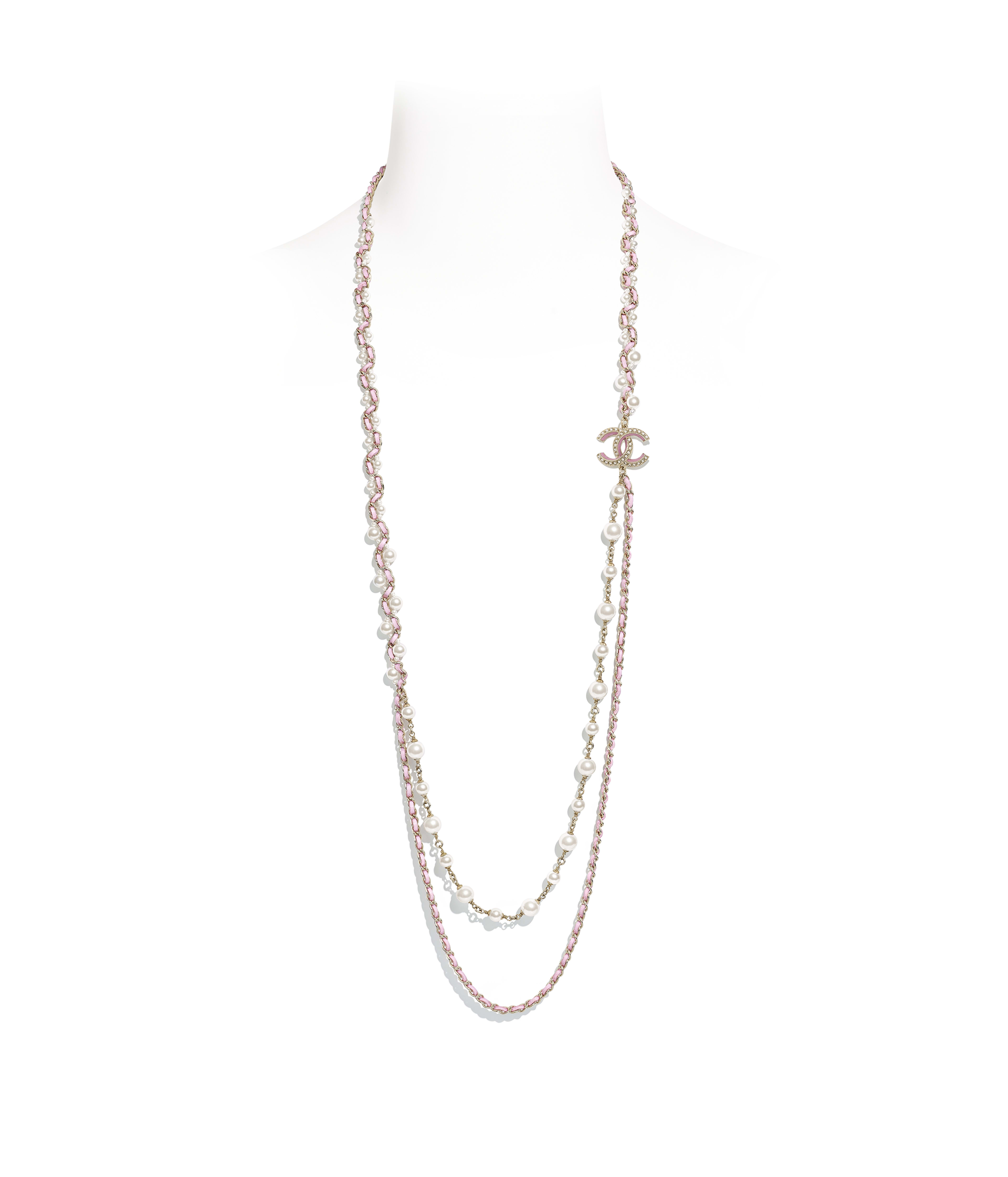 4d6a7d7f2b27 Long Necklace Metal, Glass Pearls & Calfskin, Gold, Pink & Pearly White  Ref. AB1502Y47640Z9044