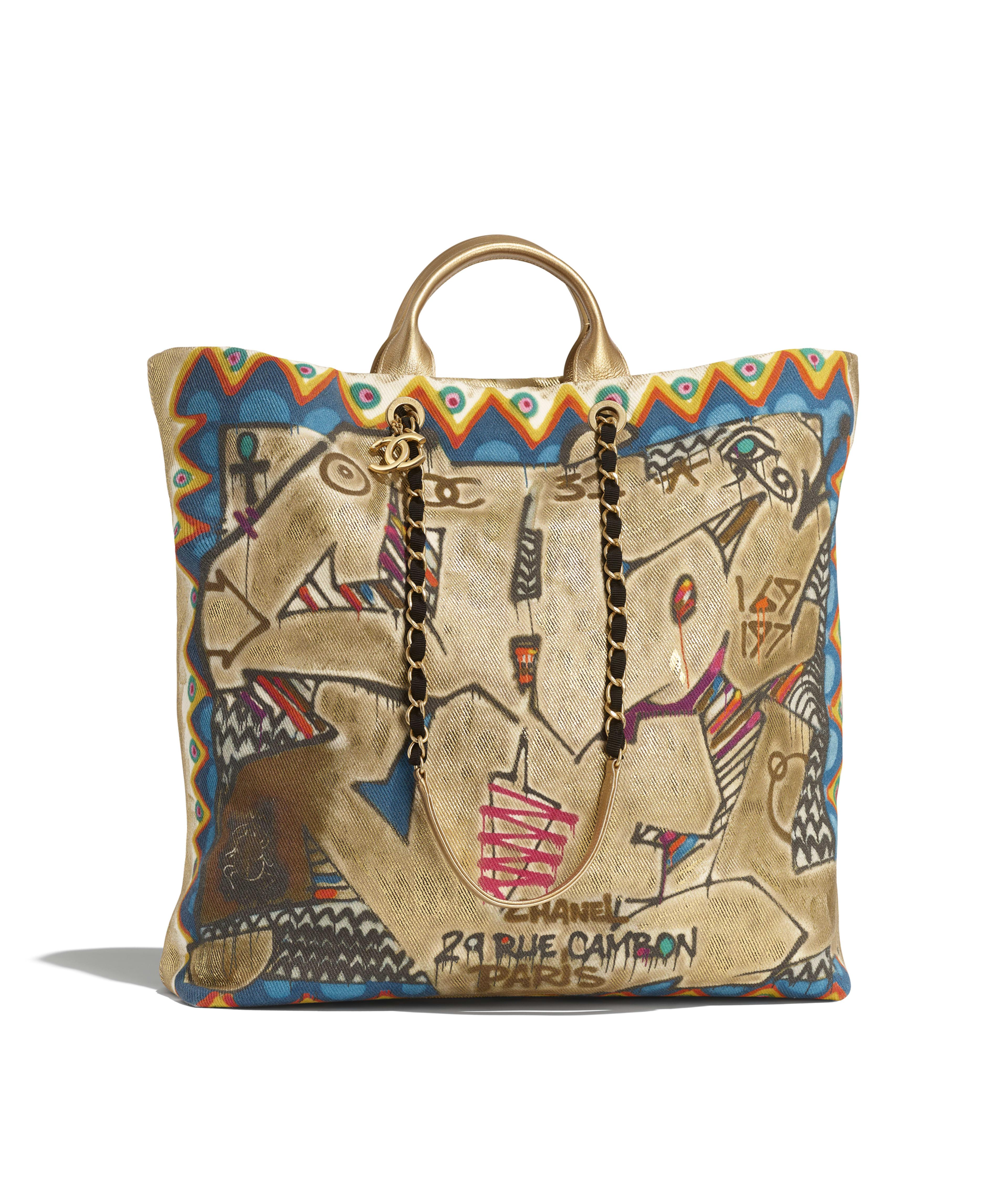 2e831babe77 Maxi Shopping Bag Calfskin, Cotton & Gold-Tone Metal, Multicolor Ref.  AS0850B0090099999