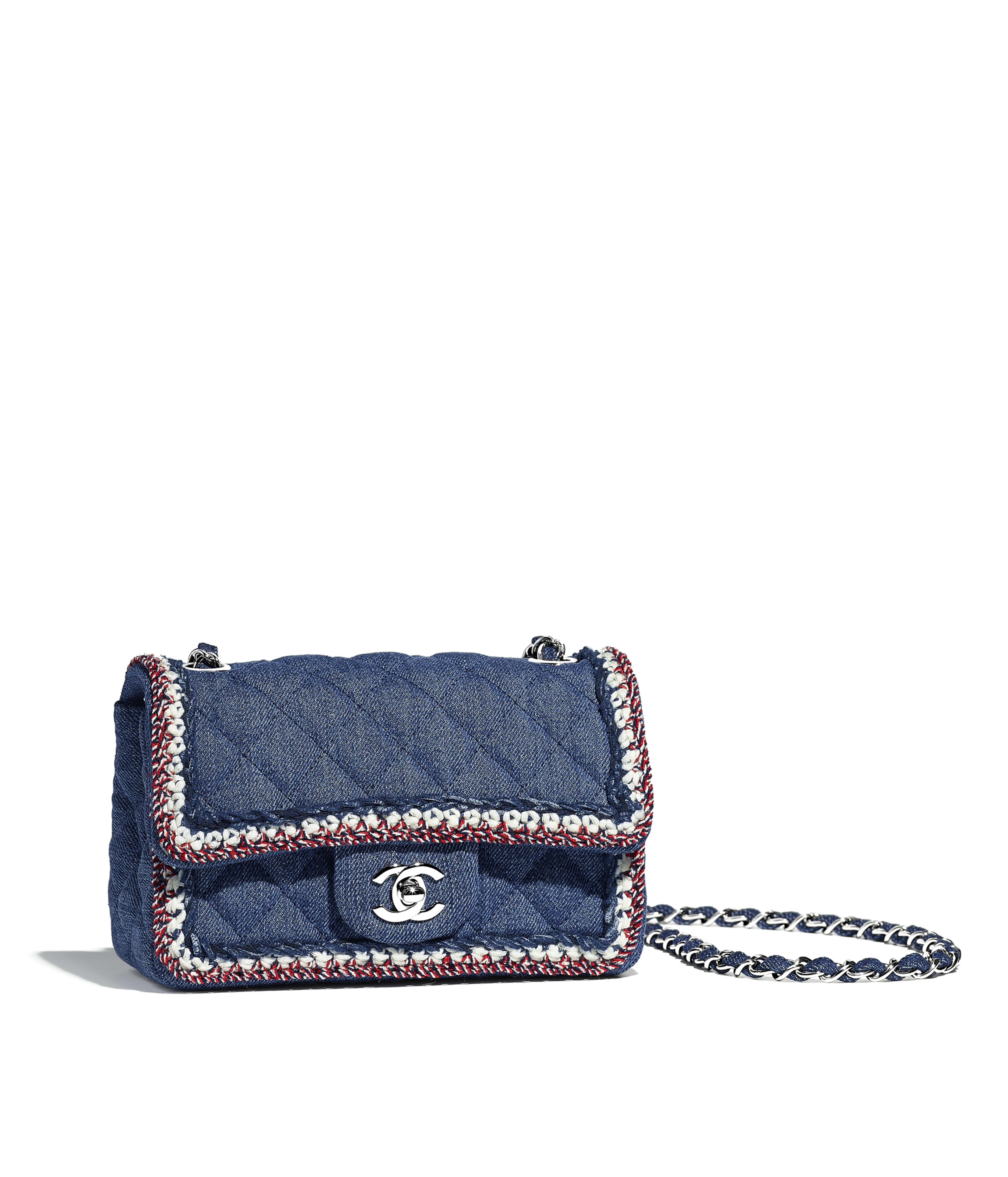 Mini Flap Bag Denim Braid Silver Tone Metal Dark Blue Ref A69900y838715b449