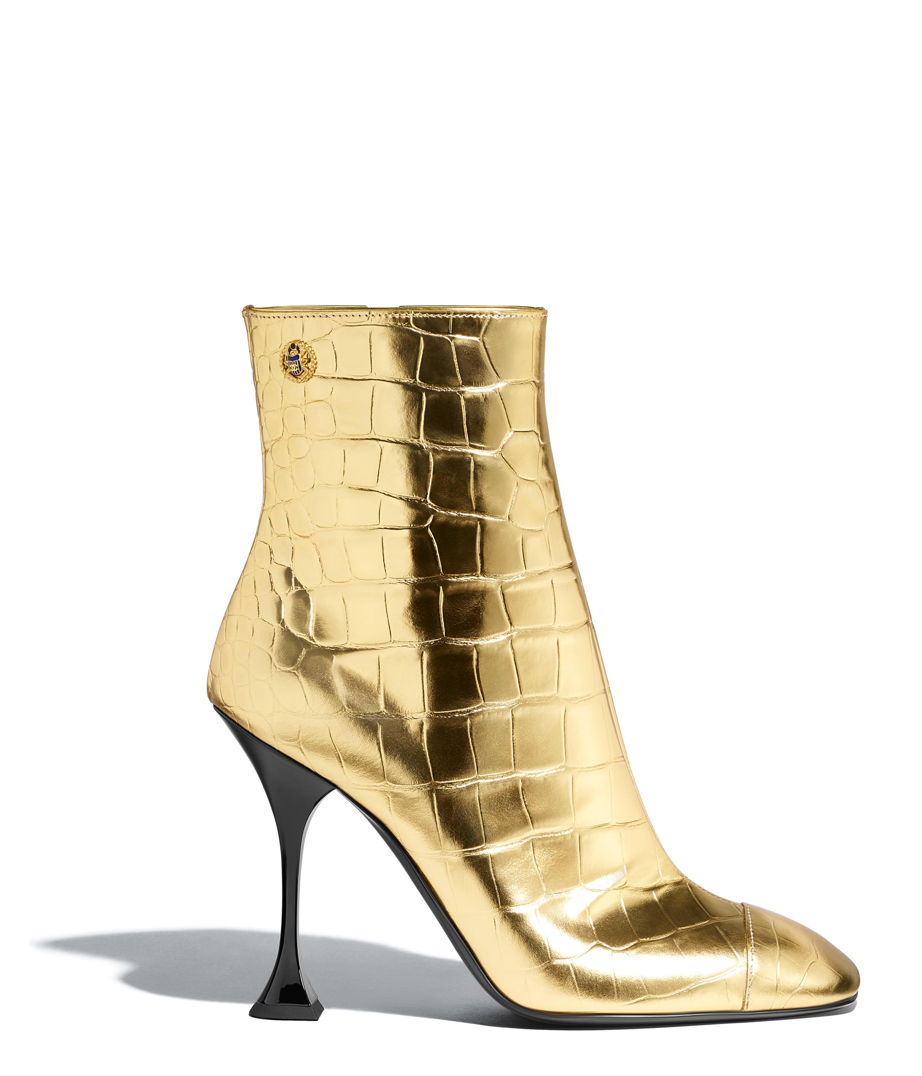 37b5a54692b8e3 Short Boots Crocodile Embossed Metallic Calfskin, Gold Ref.  G34902X530300H813