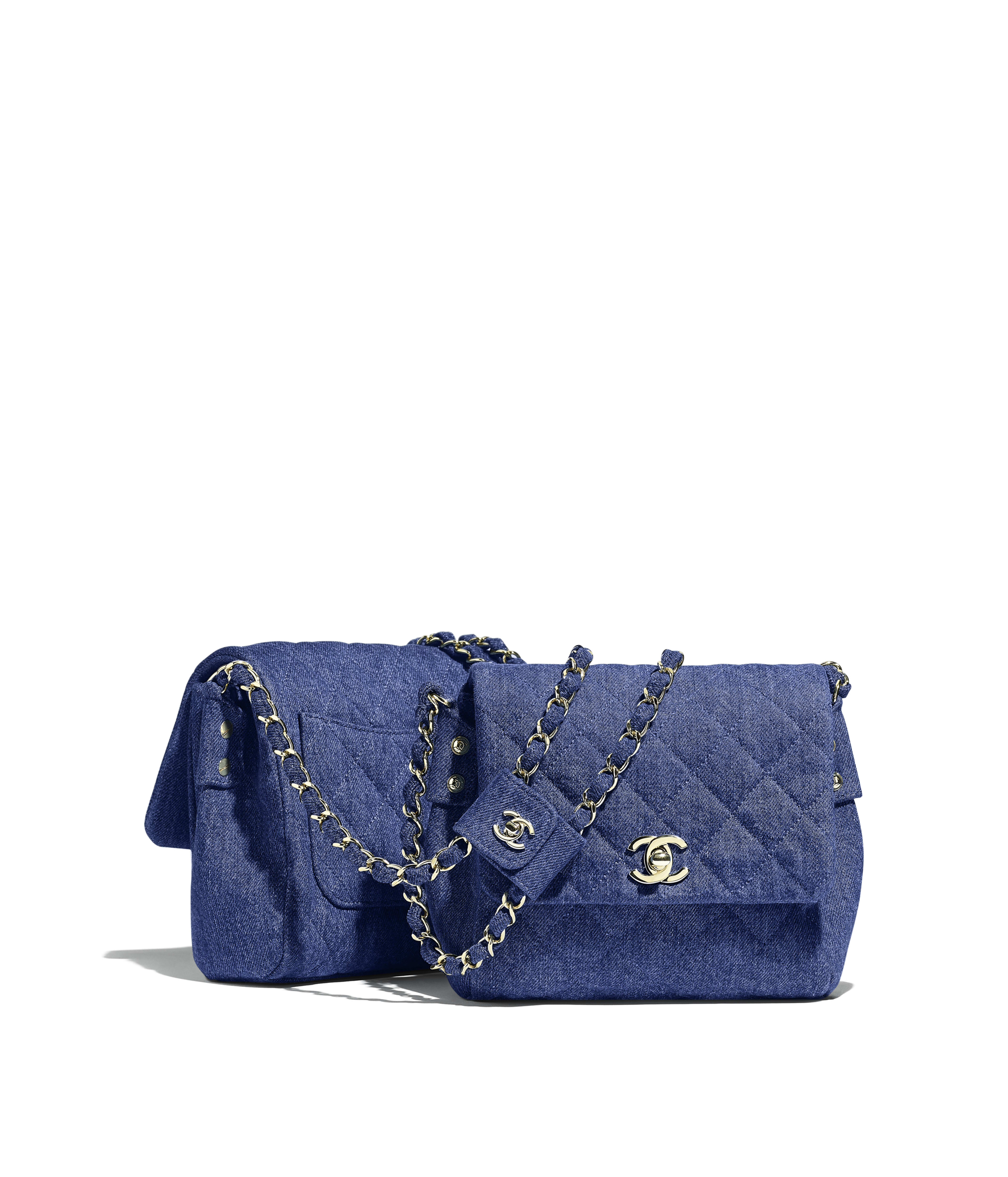 2d77841658ad33 Side-Packs Denim & Gold-Tone Metal, Dark Blue Ref. AS0658B00549N4616
