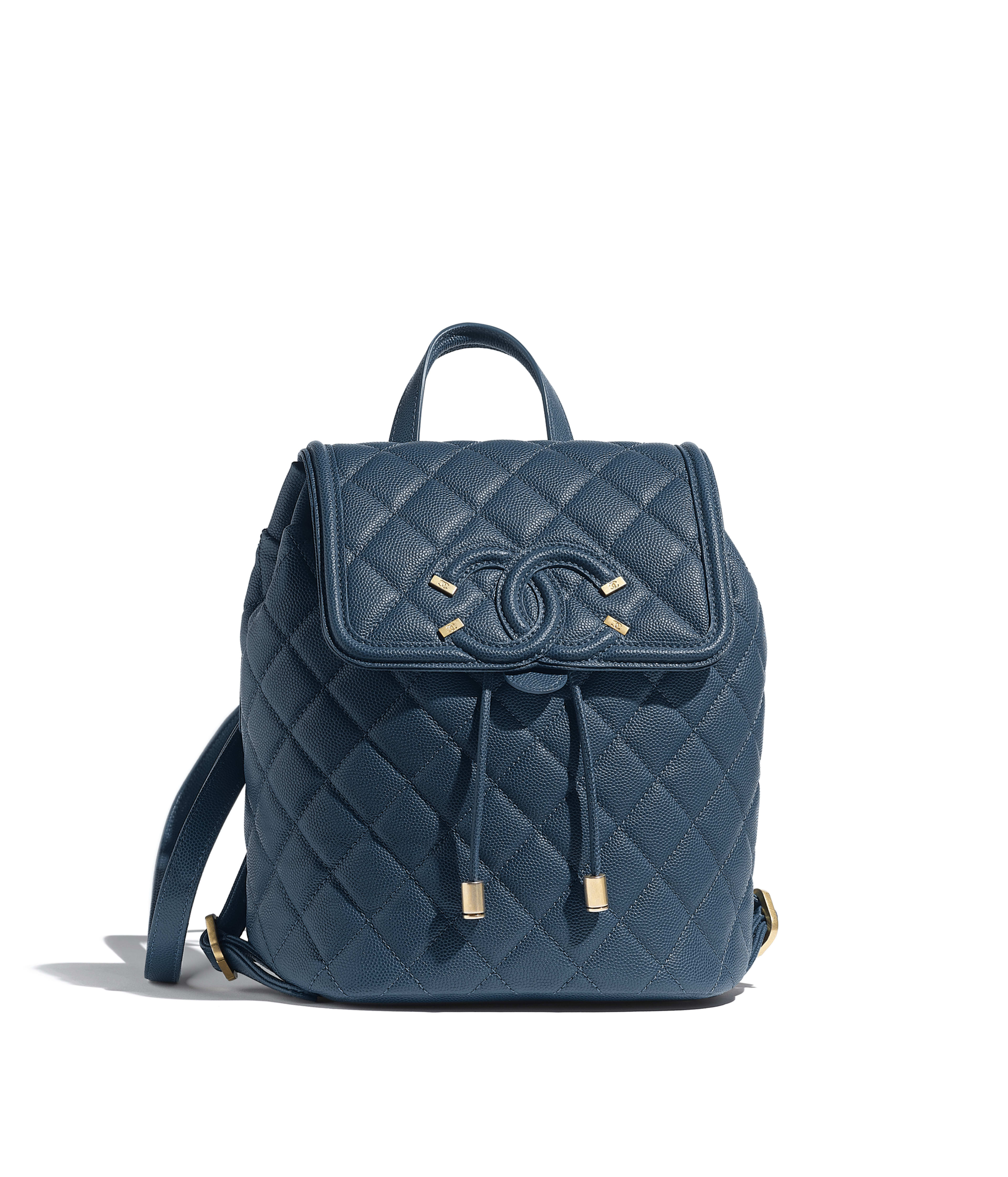 aded140f2 Small Backpack Grained Calfskin & Gold-Tone Metal, Blue Ref.  AS0926B01186N4857