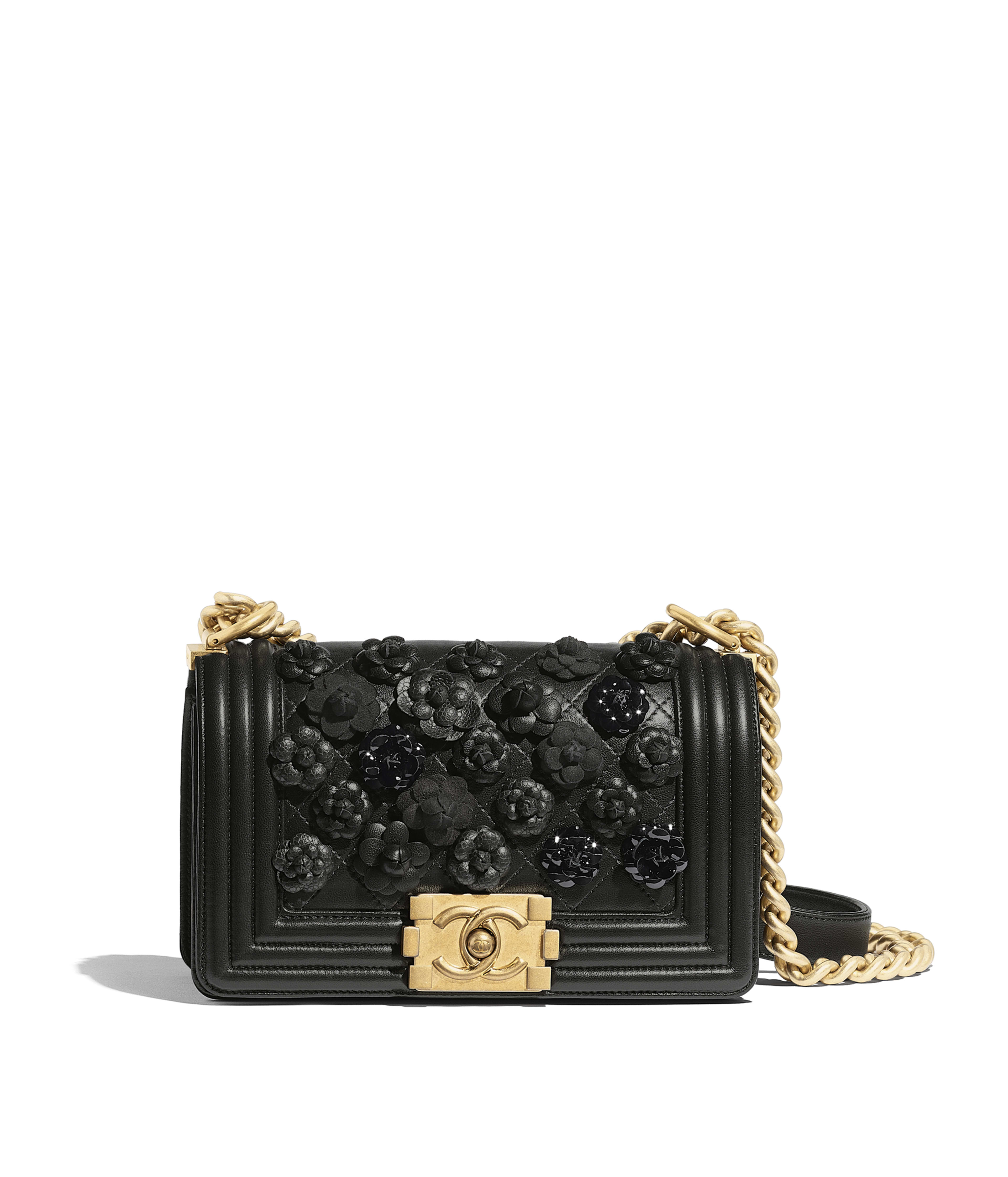 Small BOY CHANEL Handbag Embroidered Lambskin   Gold-Tone Metal, Black Ref.  A67085B0023194305 461228b56e