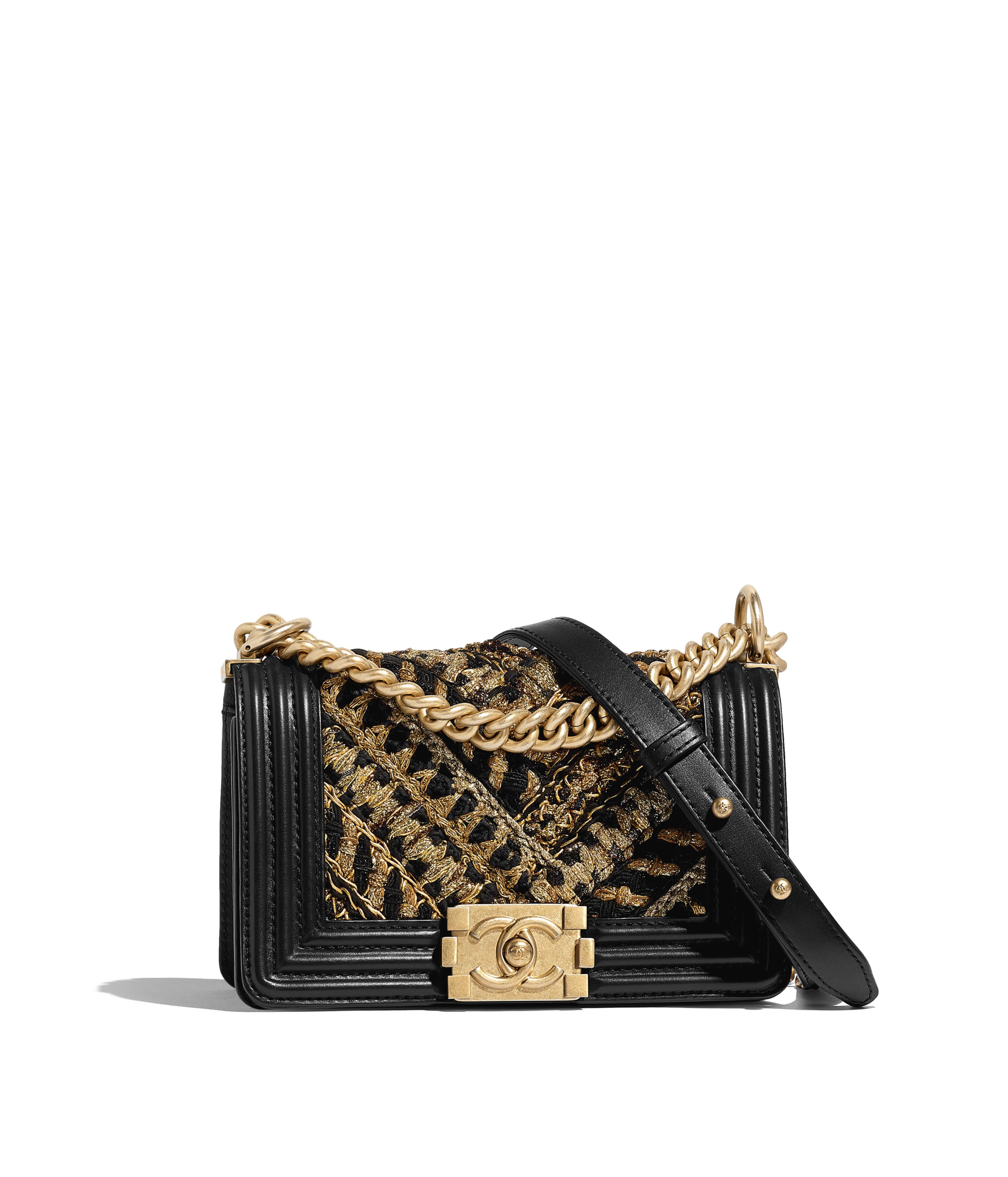 37fbb3f6c05dd1 Small BOY CHANEL Handbag Calfskin, Cotton & Gold-Tone Metal, Black & Gold  Ref. A67085B00955N0784