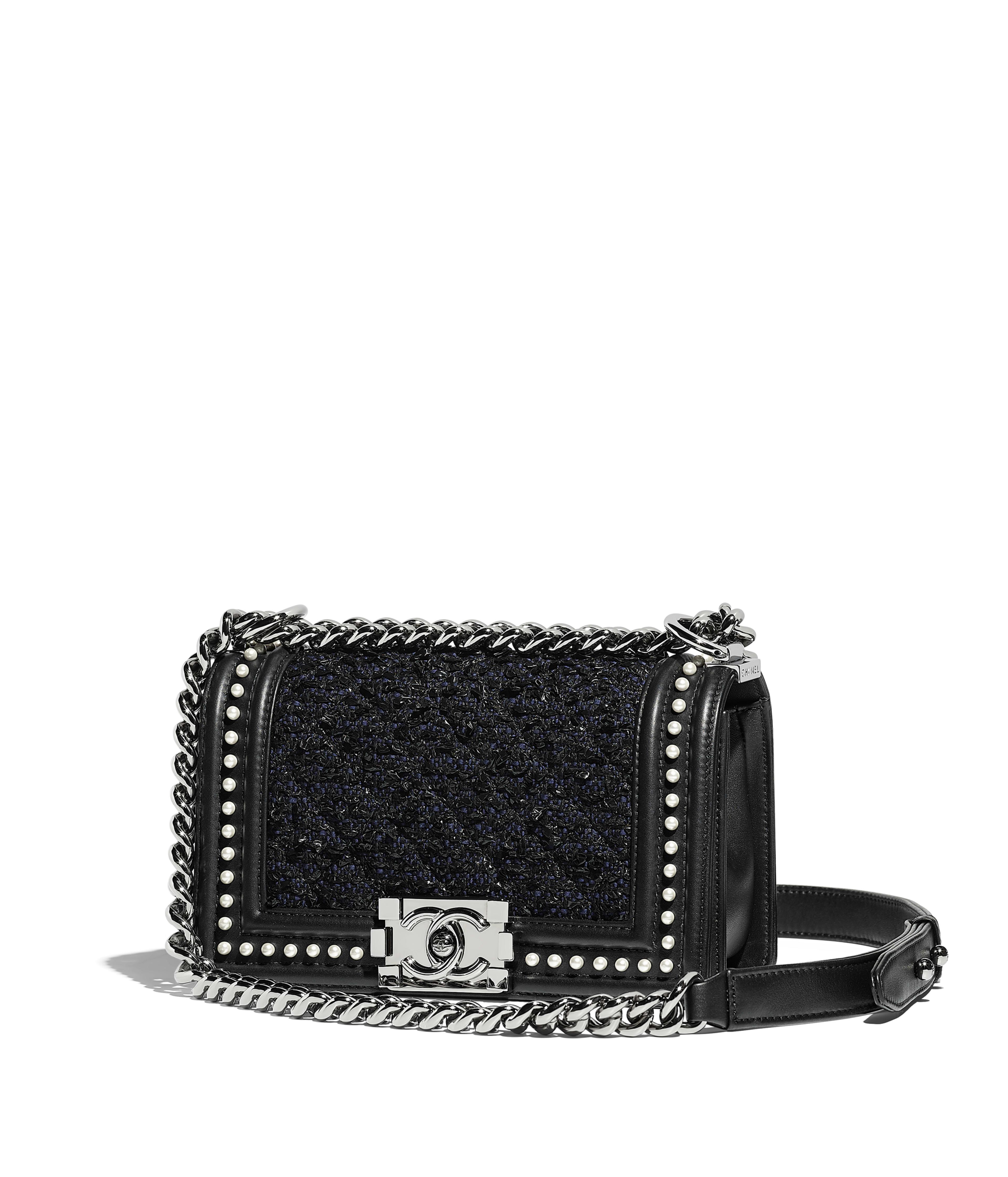 Small Boy Chanel Handbag Tweed Calfskin Imitation Pearls Ruthenium Finish Metal Black Navy Blue Ref A67085y83836c7127