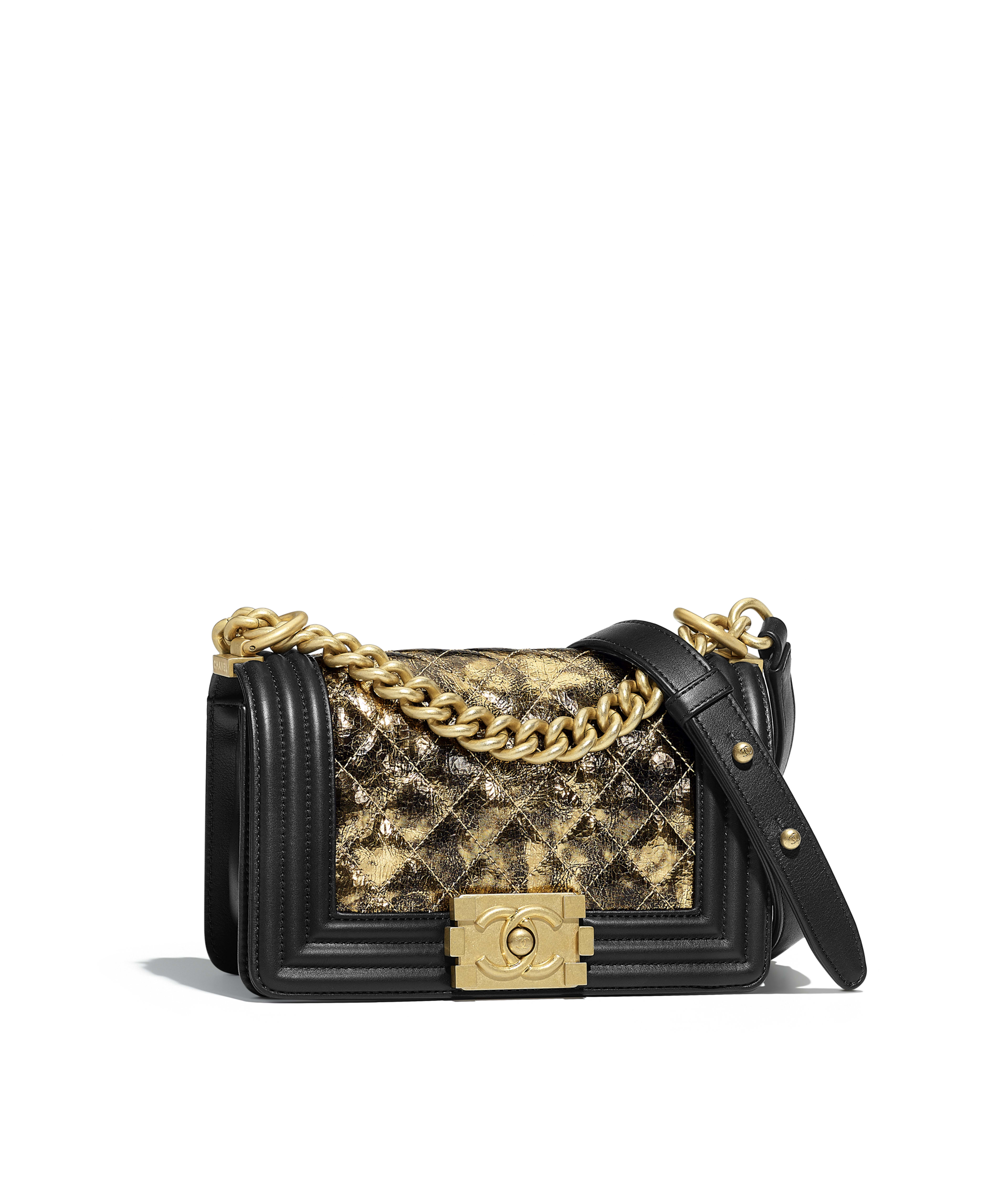 Small Boy Chanel Handbag Metallic Crumpled Goatskin Calfskin Gold Tone Metal Black Ref A67085y84058c9368