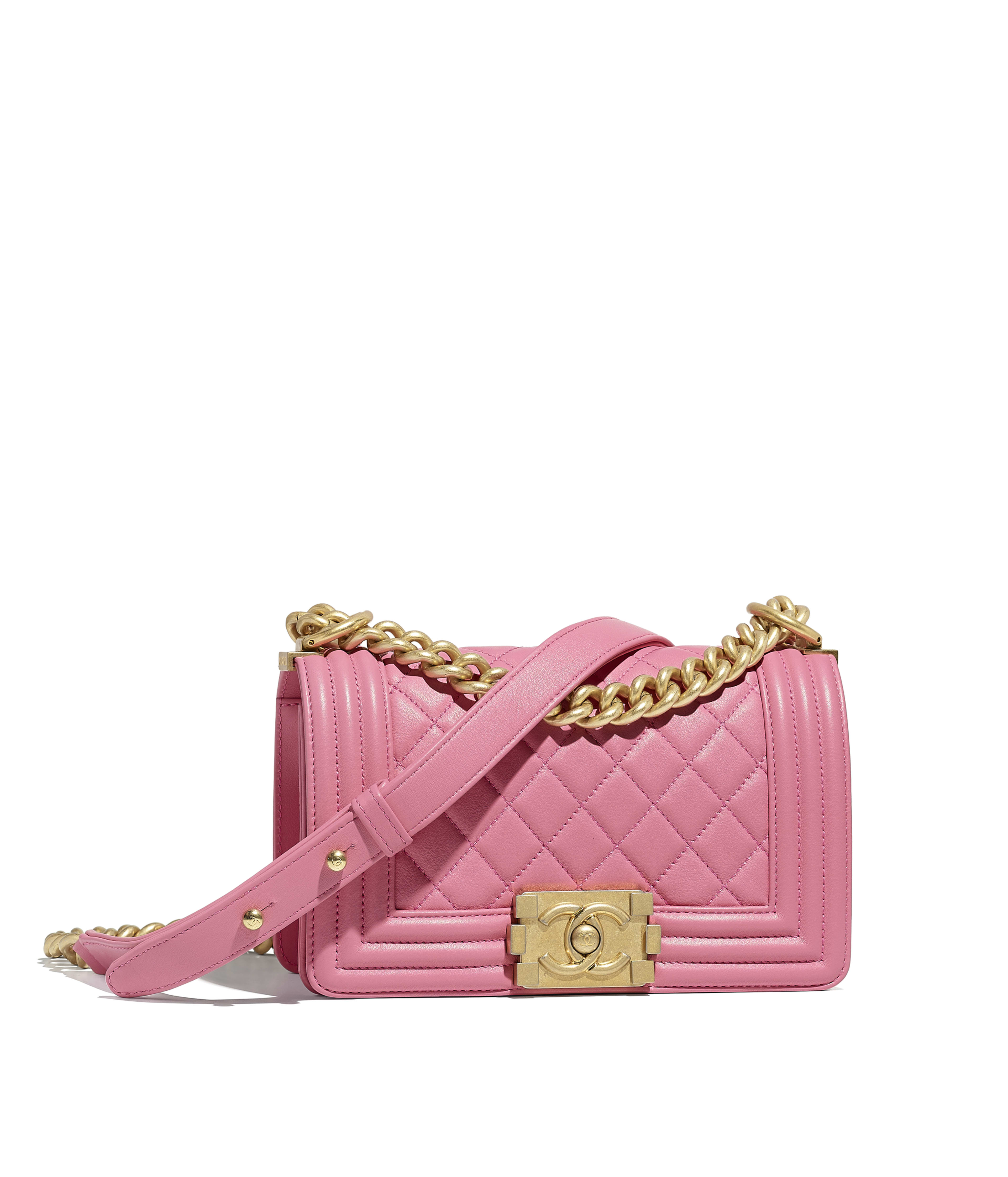 Small Boy Chanel Handbag Calfskin Gold Tone Metal Pink Ref A67085y099395b454