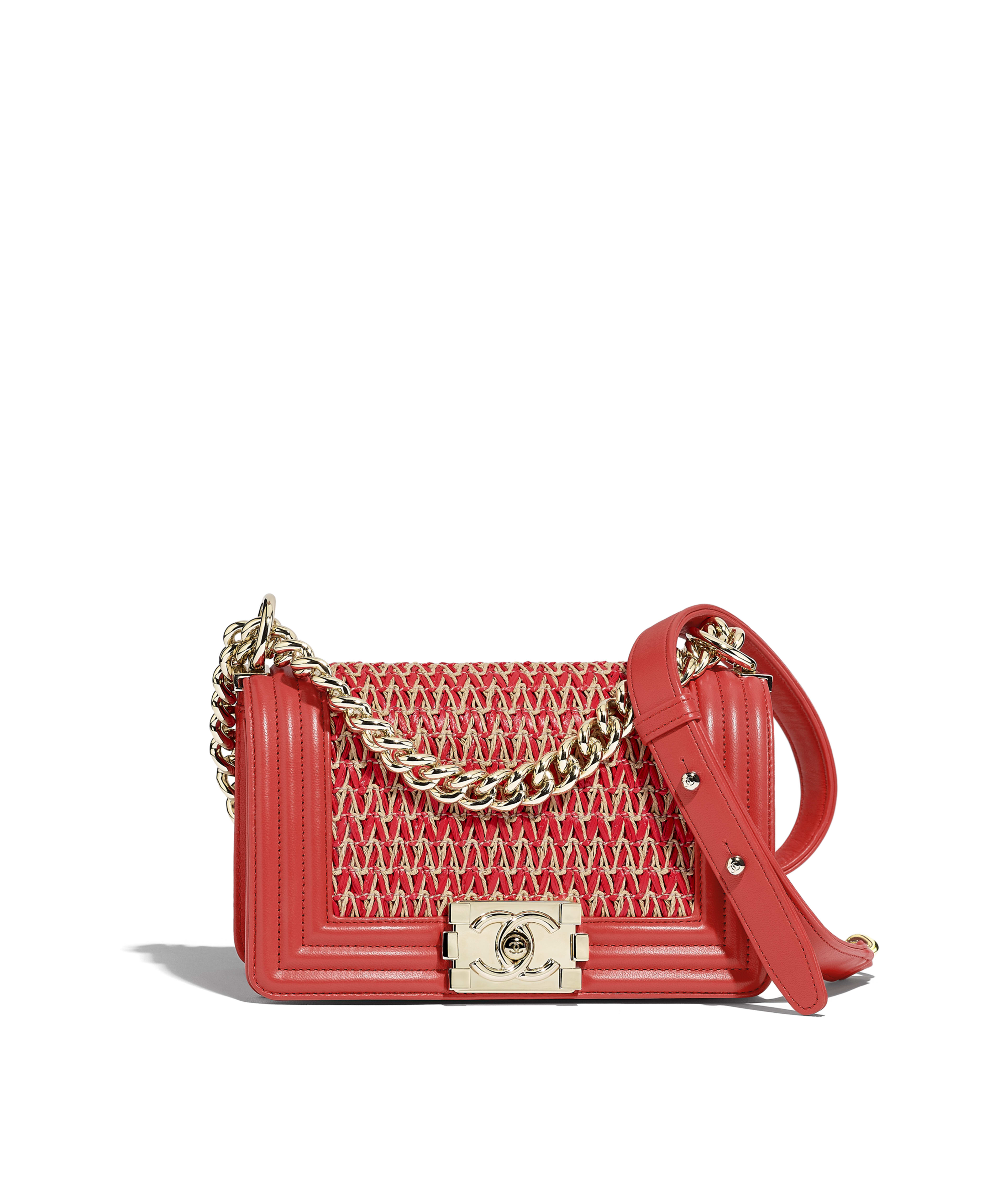 f79727d16aec Small BOY CHANEL Handbag Cotton, Lambskin & Gold-Tone Metal, Red & Beige  Ref. A67085B00353N4131
