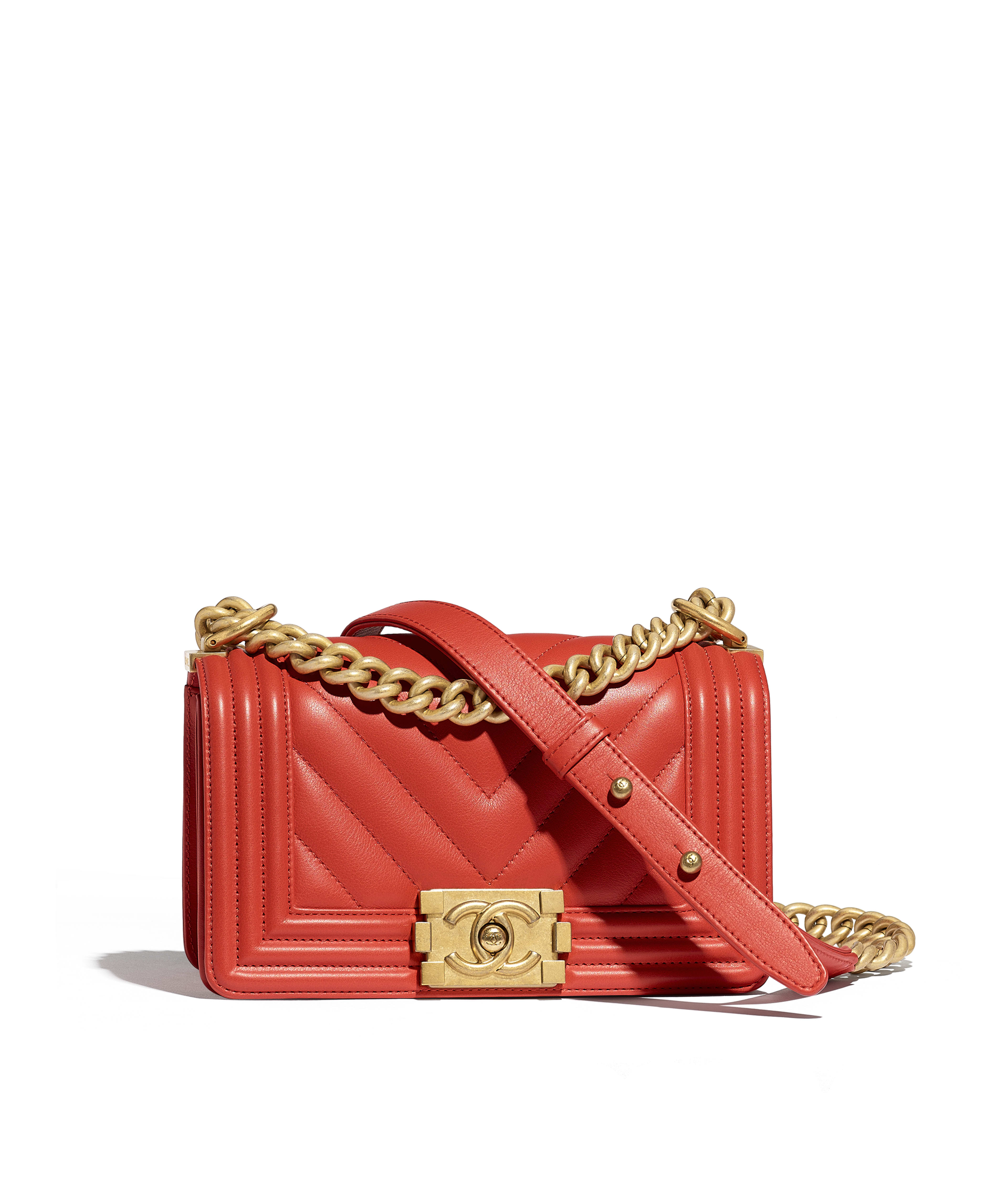 Small Boy Chanel Handbag Calfskin Gold Tone Metal Red Ref A67085y822665b651
