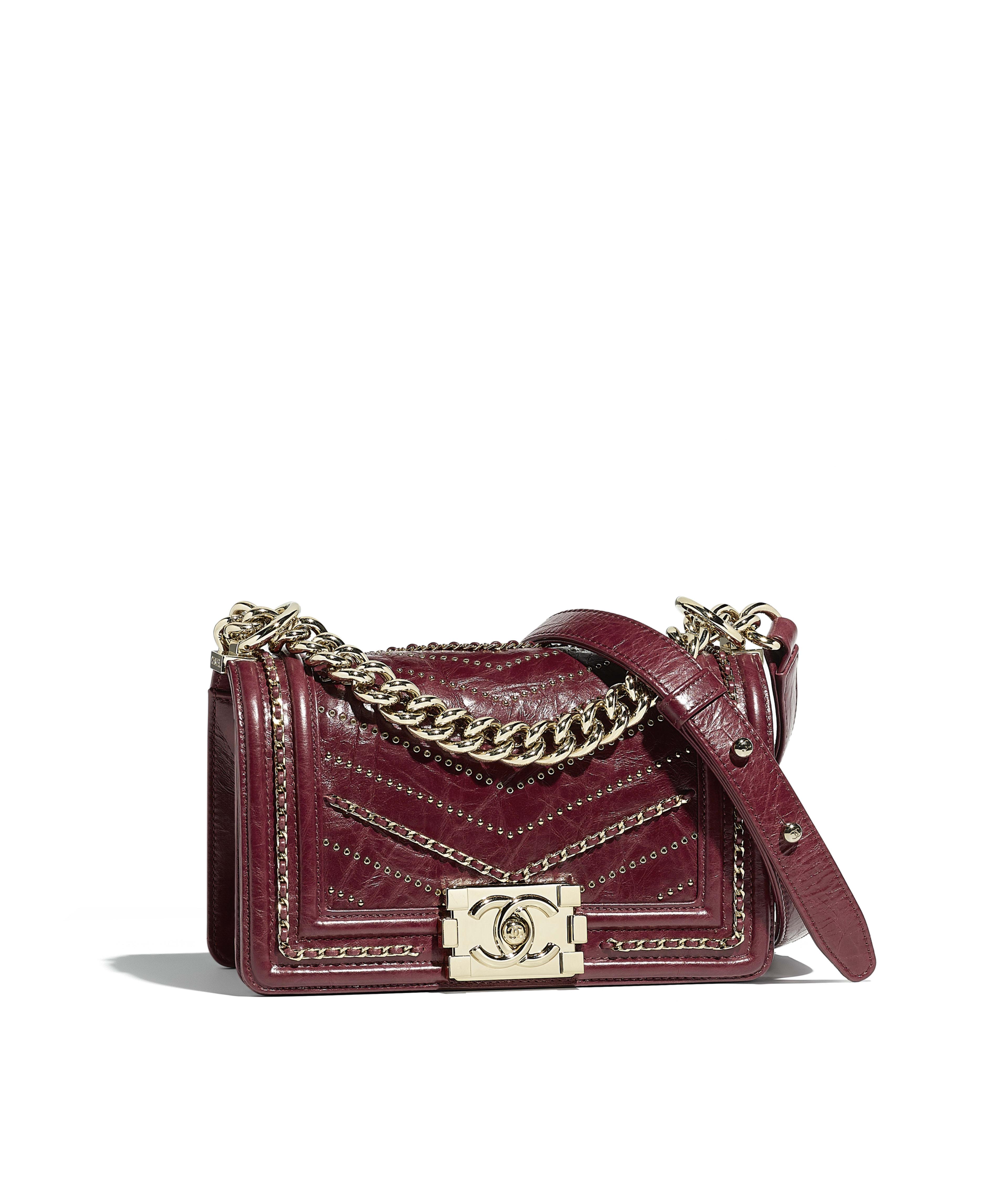 Small BOY CHANEL Handbag Crumpled Calfskin   Gold-Tone Metal, Red Ref.  A67085Y839675B549 89daa7dc17