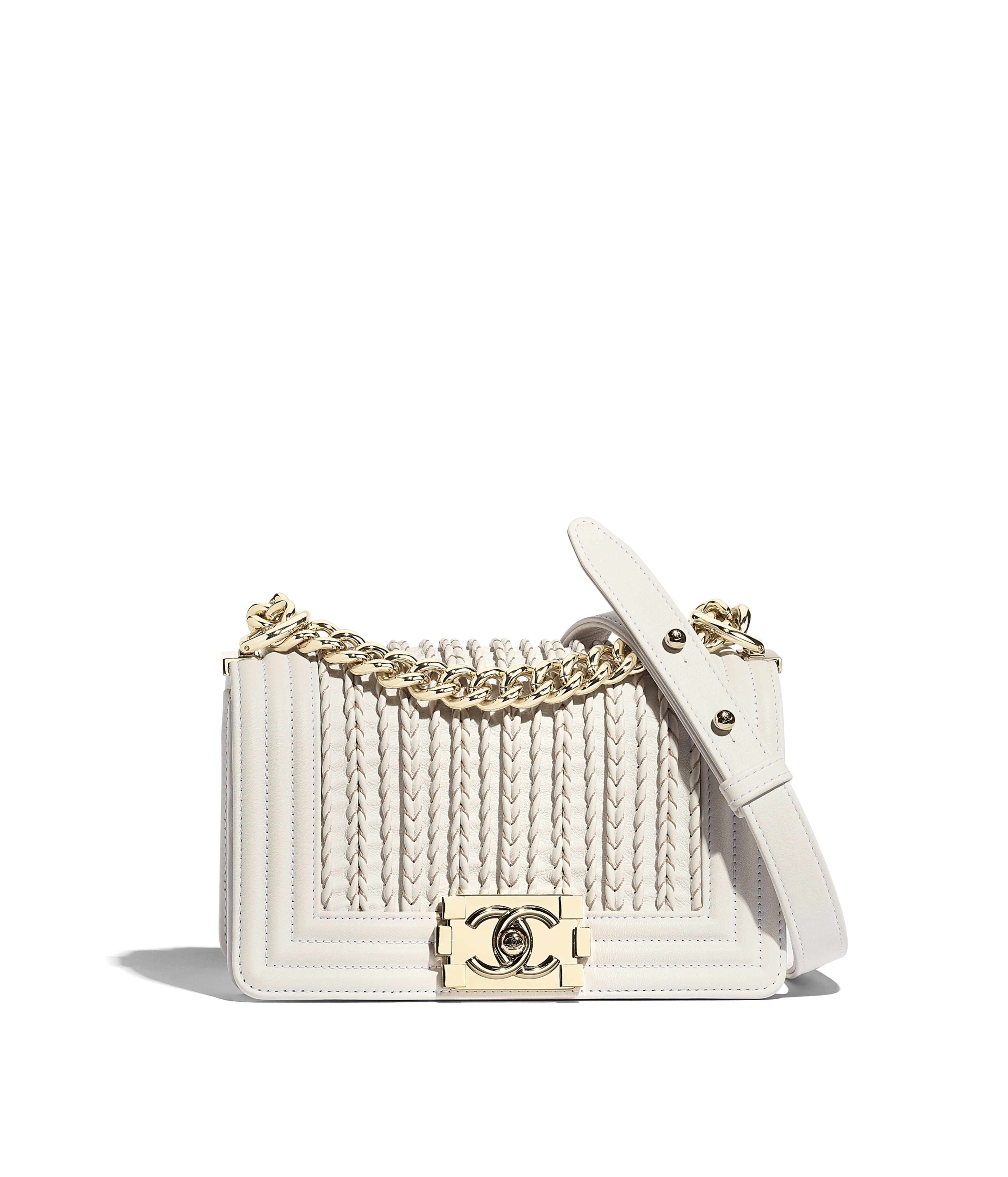 e53982da70b Small BOY CHANEL Handbag Embroidered Calfskin, Smooth Calfskin & Gold-Tone  Metal, White Ref. A67085B0003110601