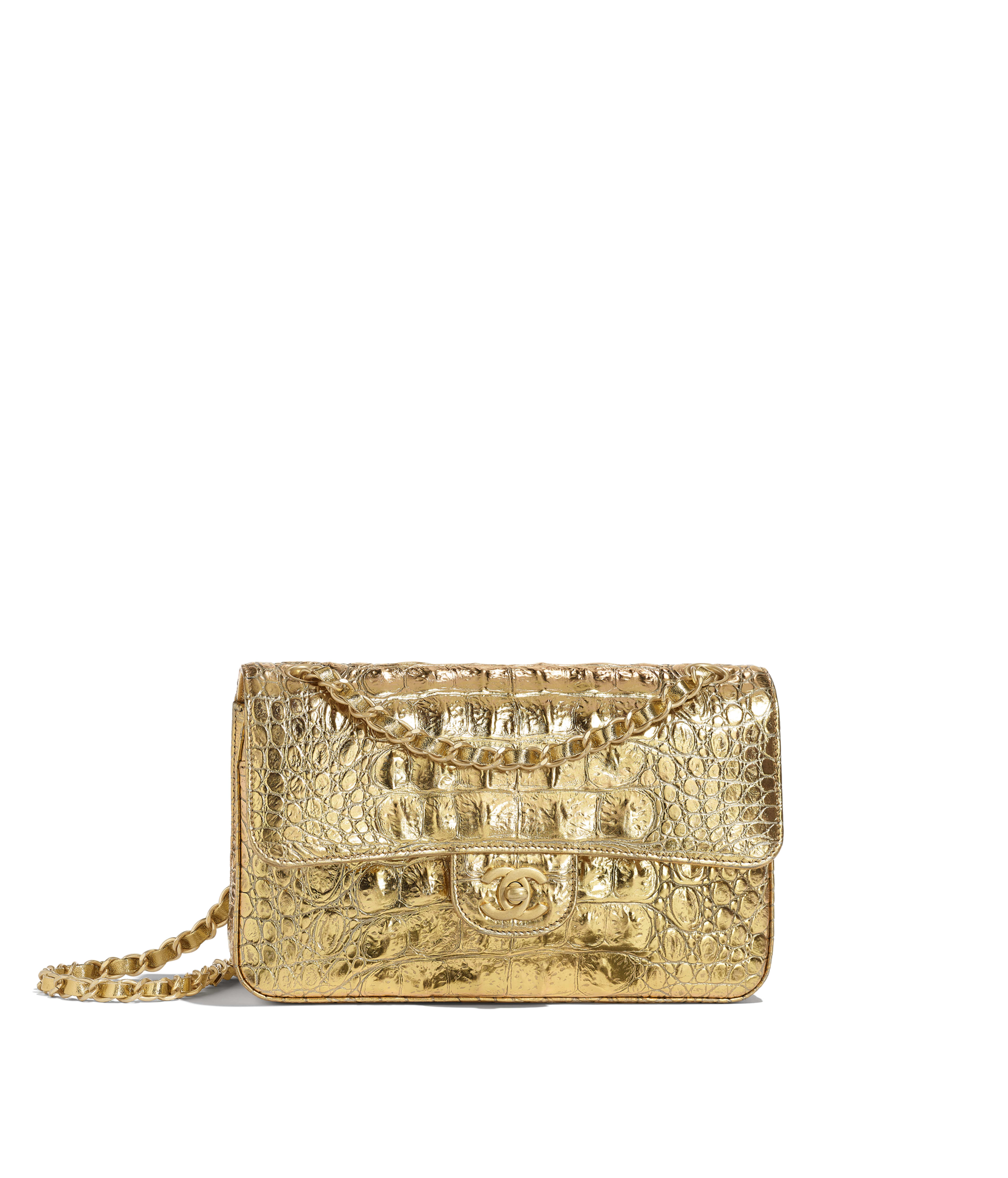 ef127c6af128c4 Small Classic Handbag Metallic Crocodile Embossed Calfskin & Gold Metal,  Gold Ref. A01113B00798N4752