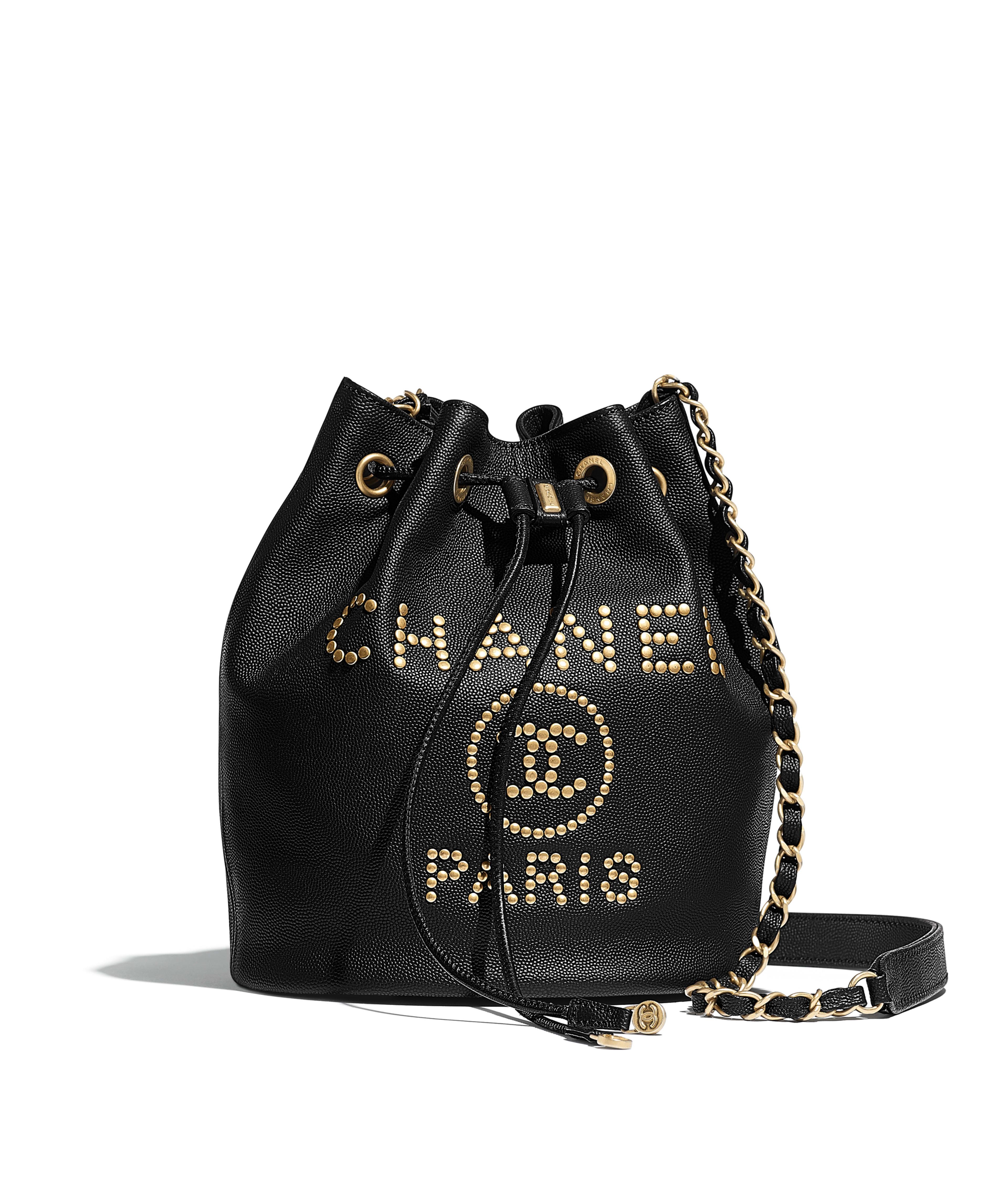 511a50aeb Small Drawstring Bag Grained Calfskin & Gold-Tone Metal, Black Ref.  AS1045B0128694305