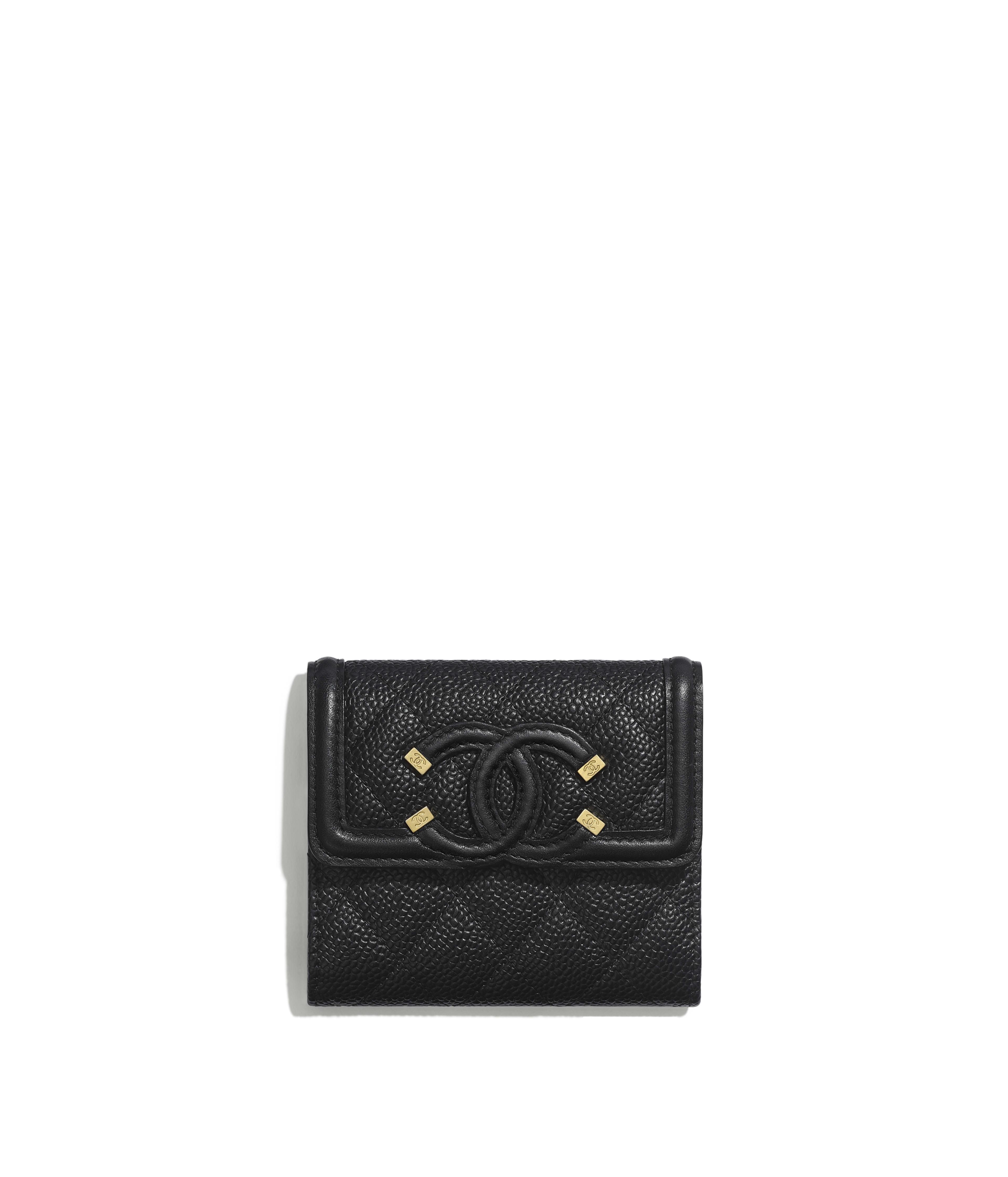a90f19e55b02e8 Small Flap Wallet Grained Calfskin, Smooth Calfskin & Gold-Tone Metal, Black  Ref. A81941Y6054294305