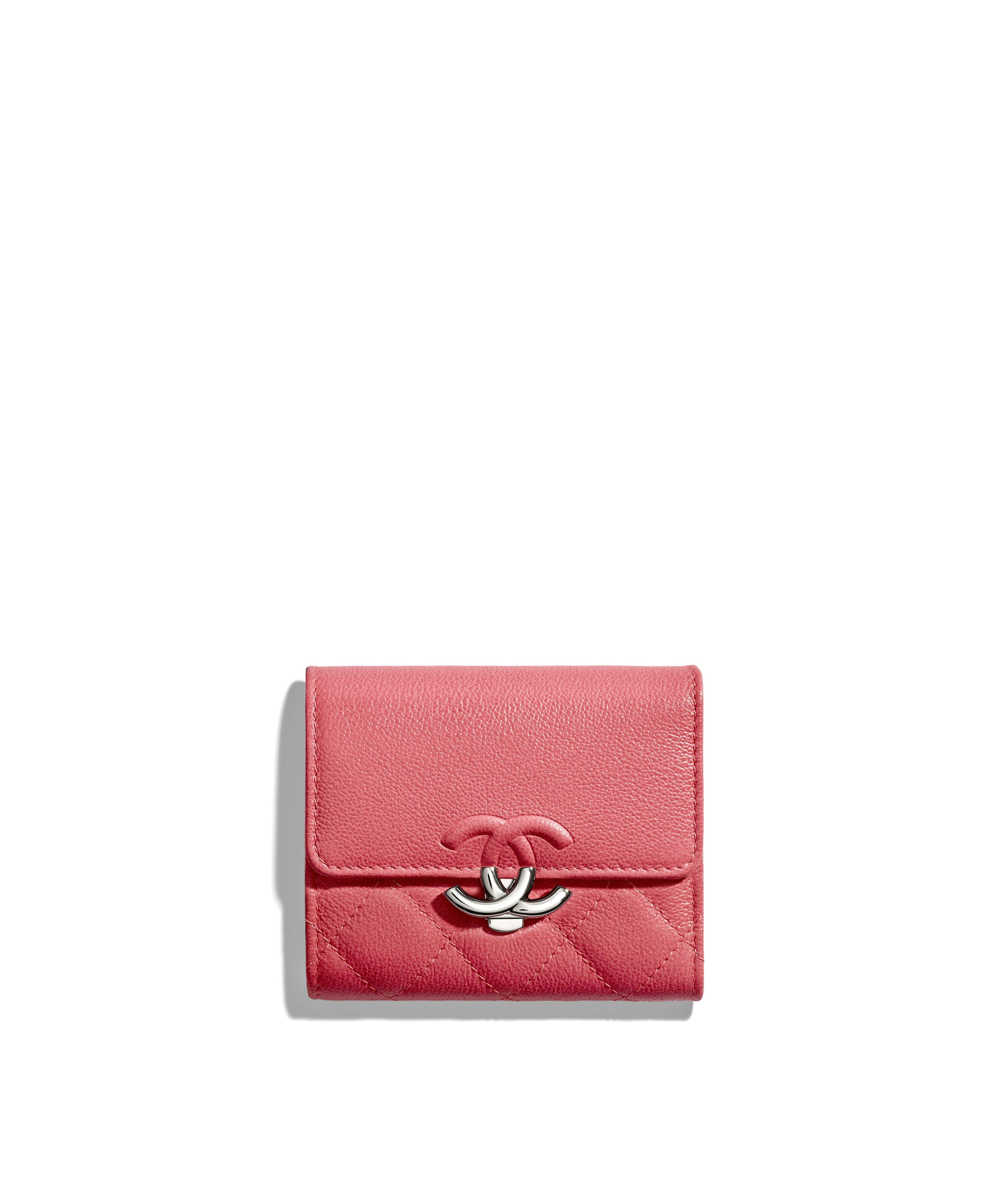 cae7d865880 Small Flap Wallet Grained Calfskin   Silver-Tone Metal, Pink Ref.  AP0010B00035N0412