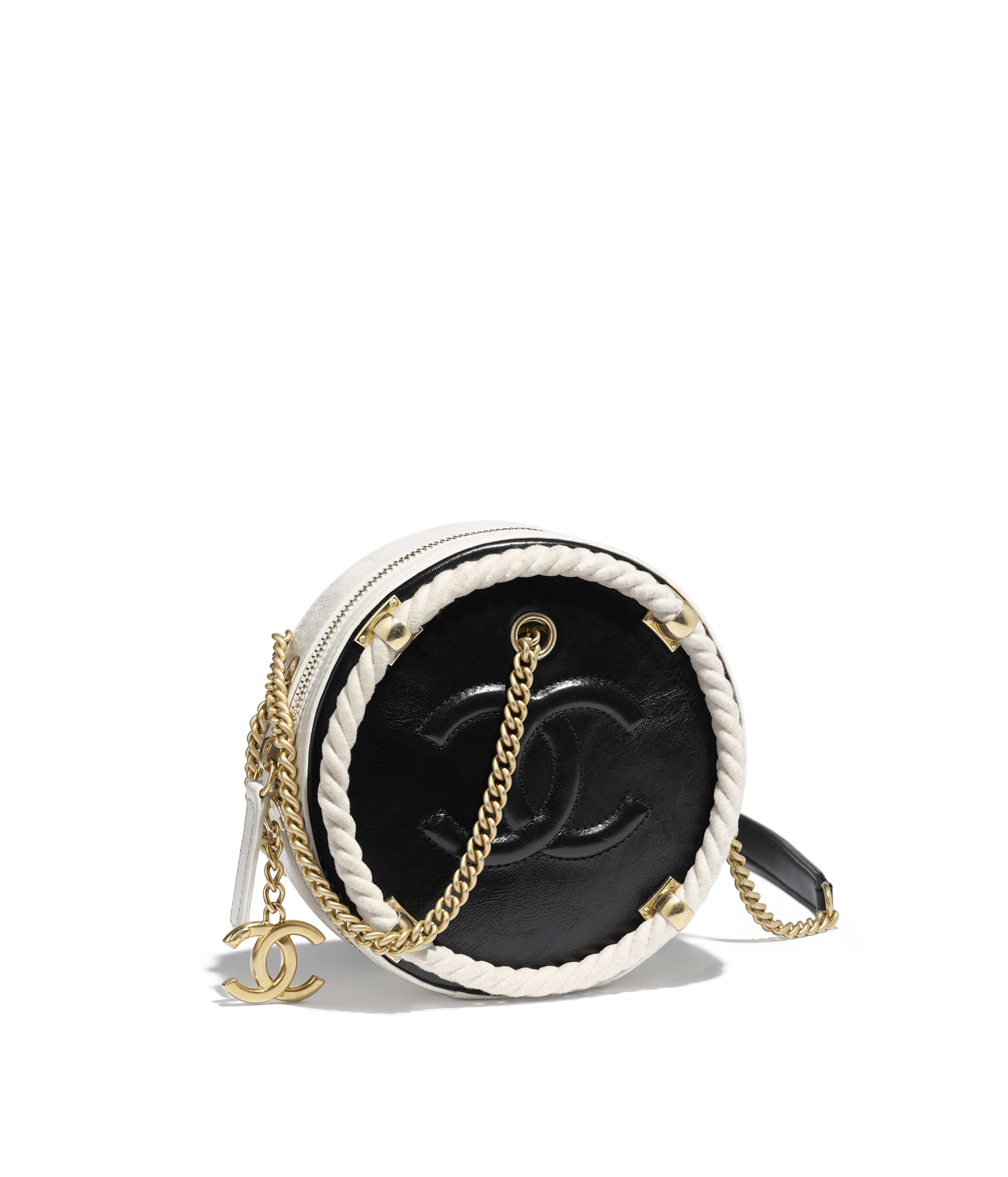 Small Round Bag Crumpled Calfskin Cotton Gold Tone Metal Black White Ref As0075y84101c0229