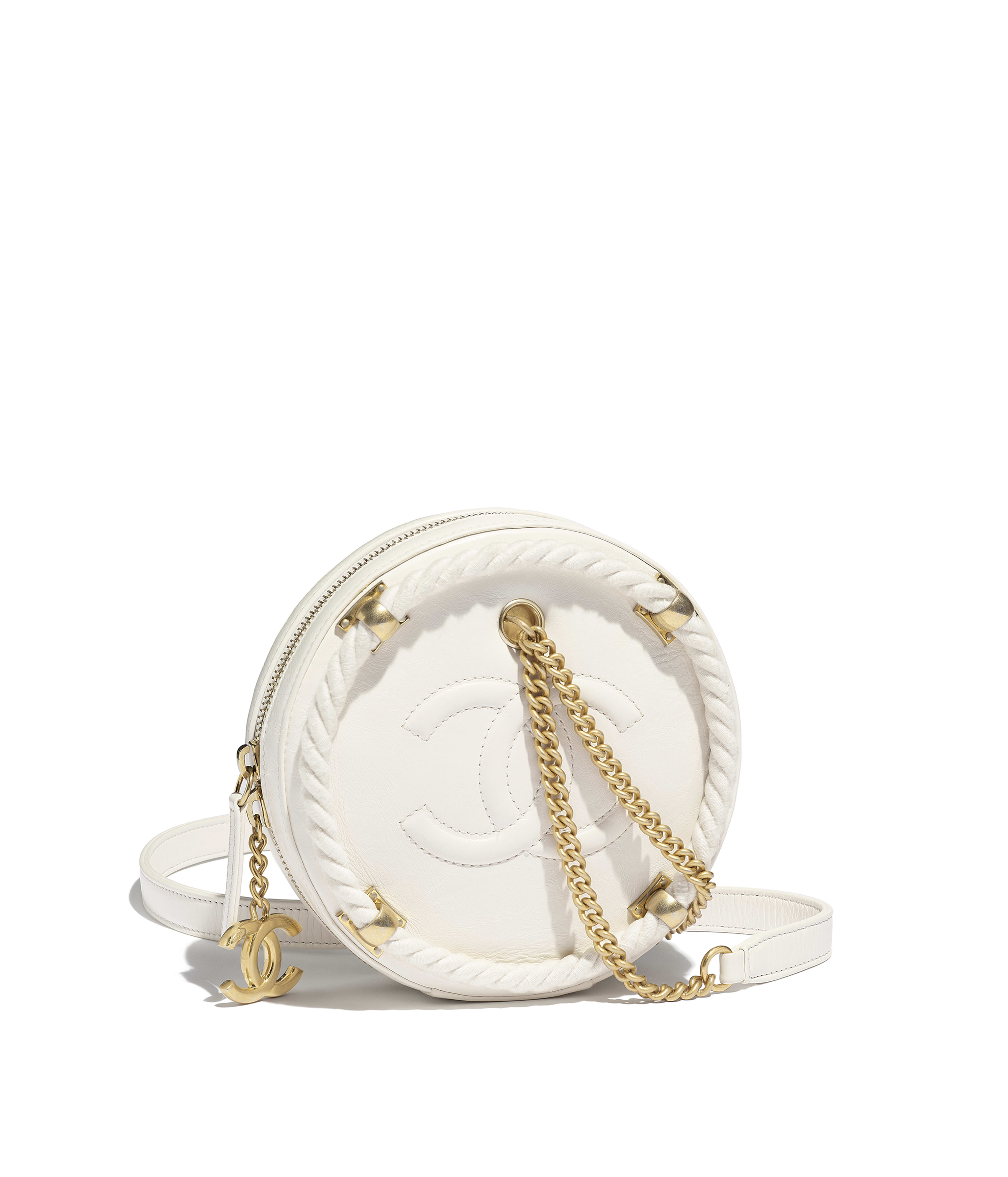 Small Round Bag Crumpled Calfskin Cotton Gold Tone Metal White Ref As0075y8410010601
