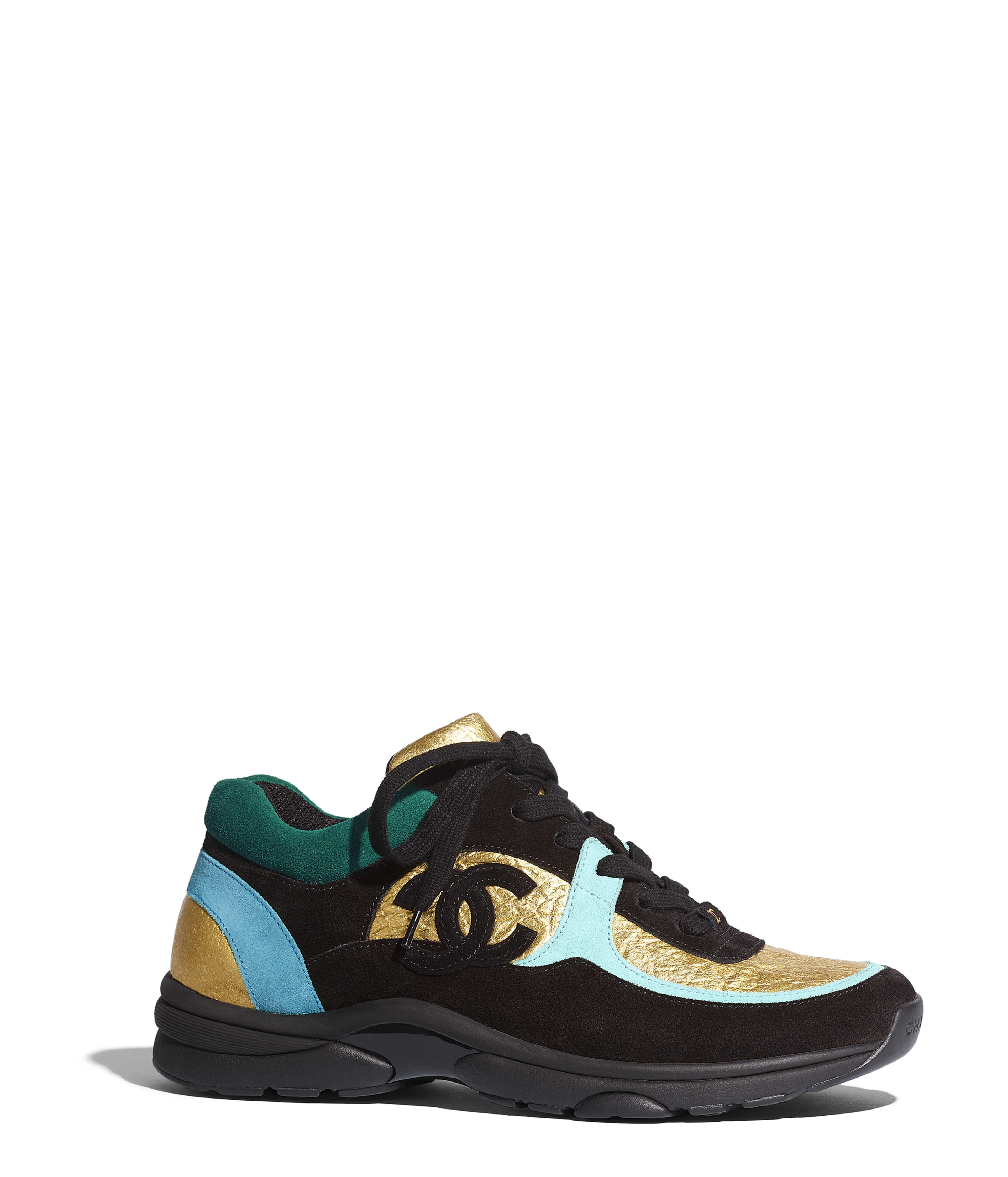 771b0e994 Sneakers Fabric & Suede Calfskin, Black, Turquoise & Gold Ref.  G34360Y53365K1701