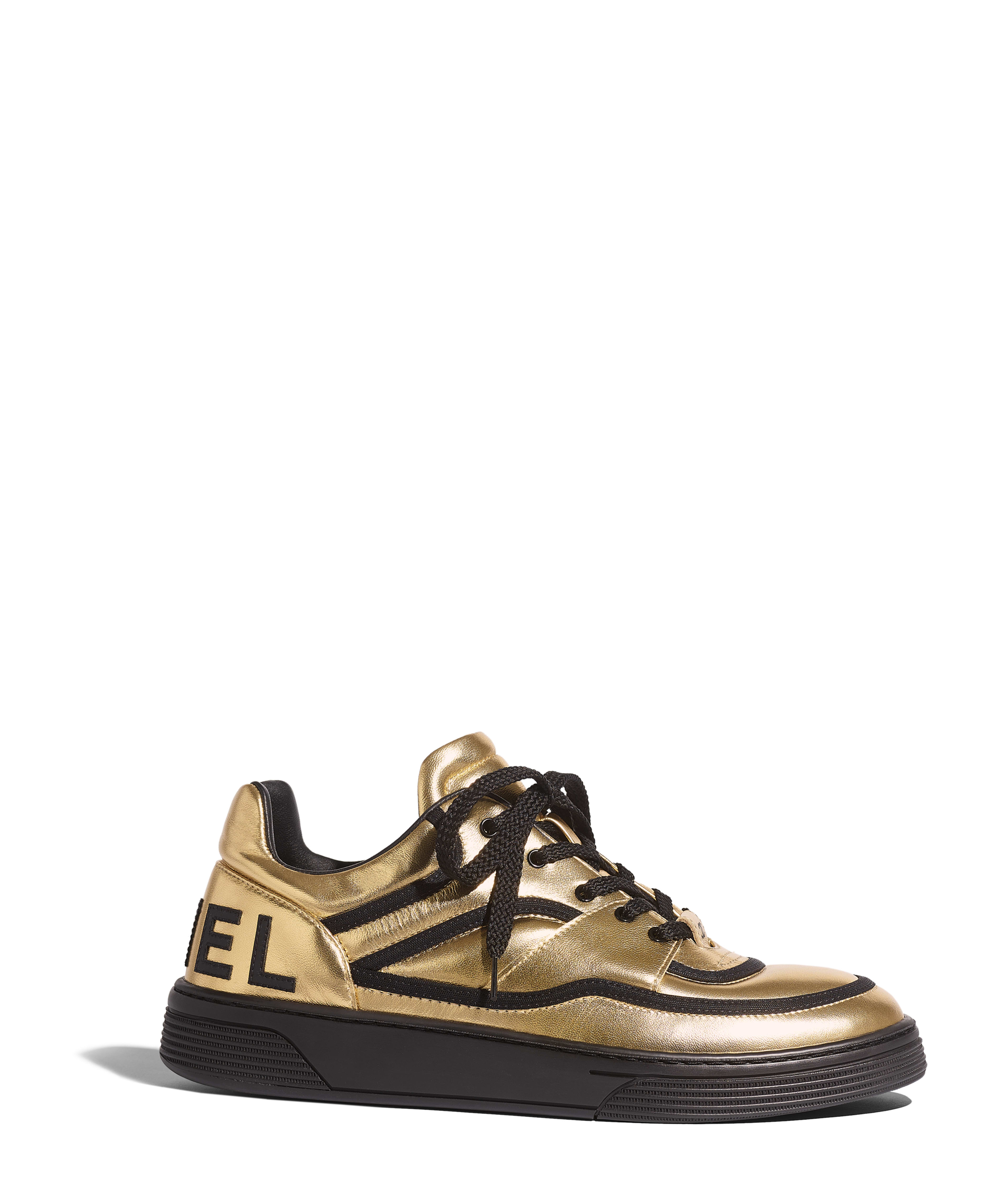 08ffcd9a2 Sneakers Satin Finish Metallic Lambskin, Gold & Black Ref. G35063X53041K1675