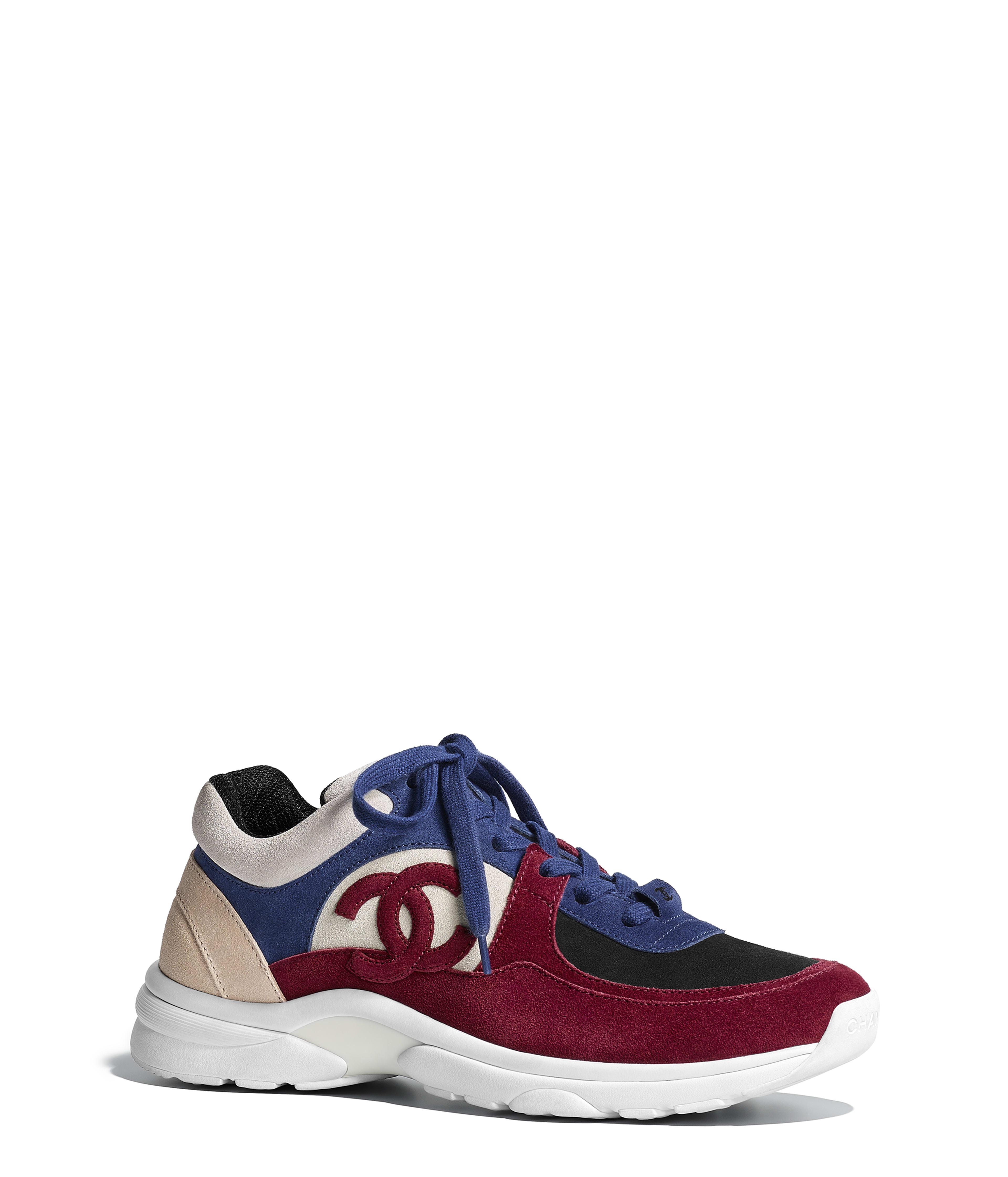Sneakers Suede Calfskin Navy Blue u0026 Red