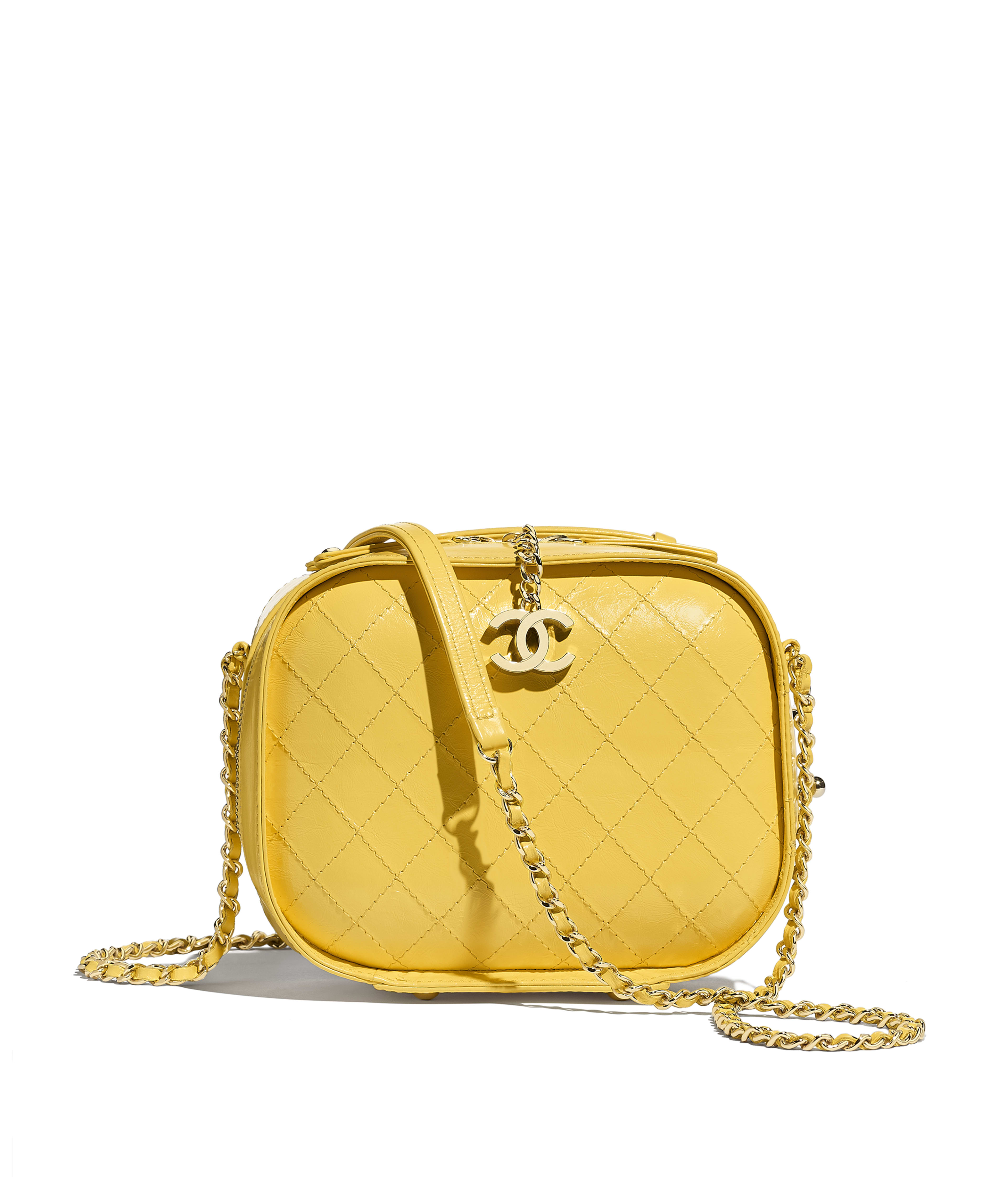 Vanity Case Crumpled Calfskin Gold Tone Metal Yellow Ref As0200y841445b642