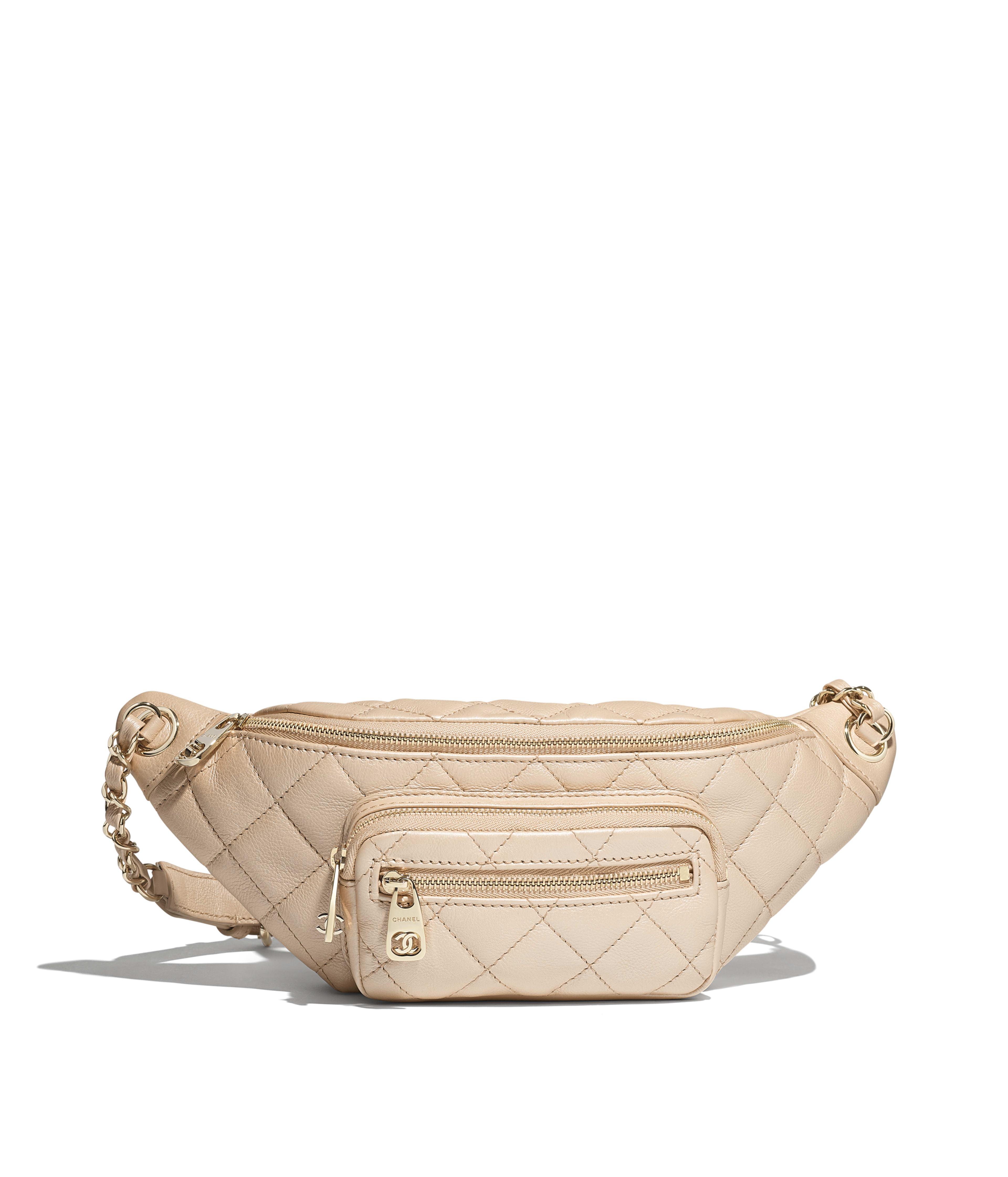 f109f1637788 Waist Bag Iridescent Grained Calfskin & Gold-Tone Metal, Beige Ref.  AS0556B00442N4381