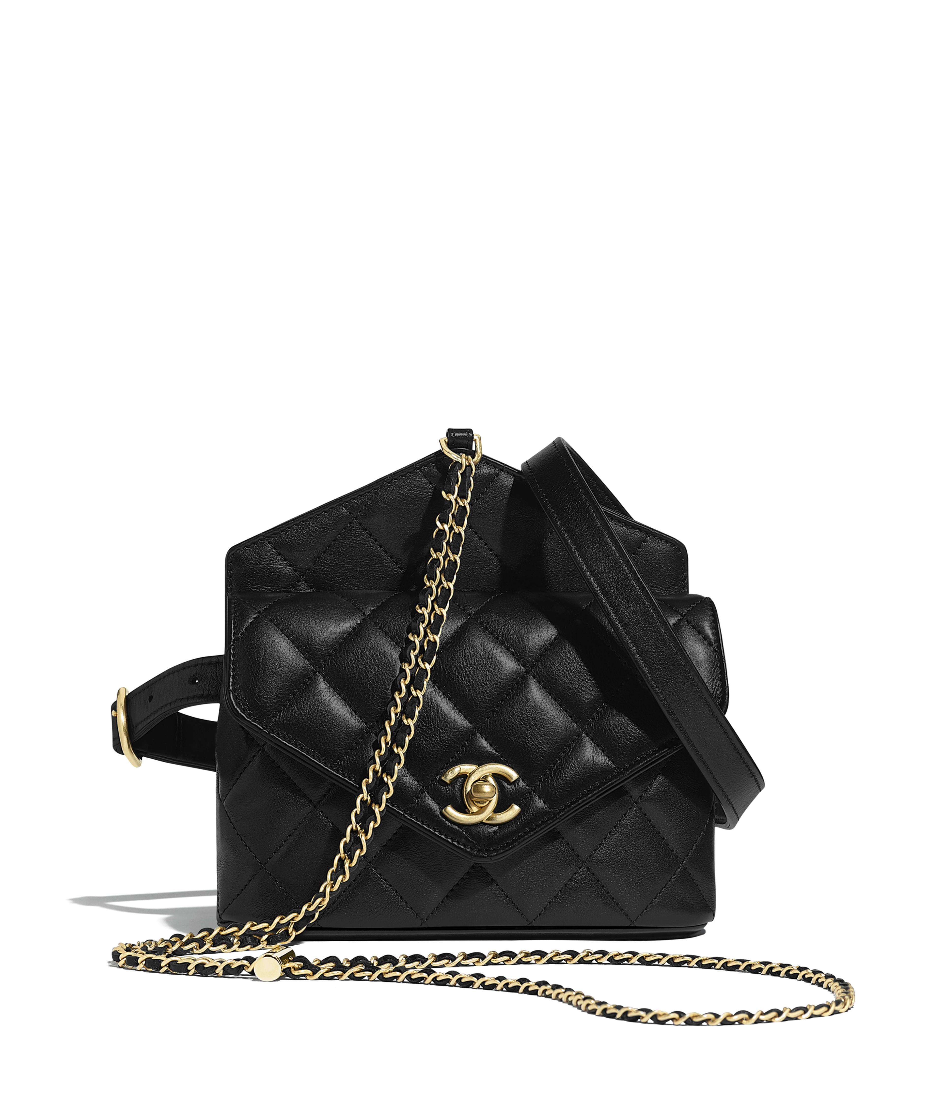 9dc76cfa19e0 Waist Bag Calfskin & Gold-Tone Metal, Black Ref. AS0657B0038294305