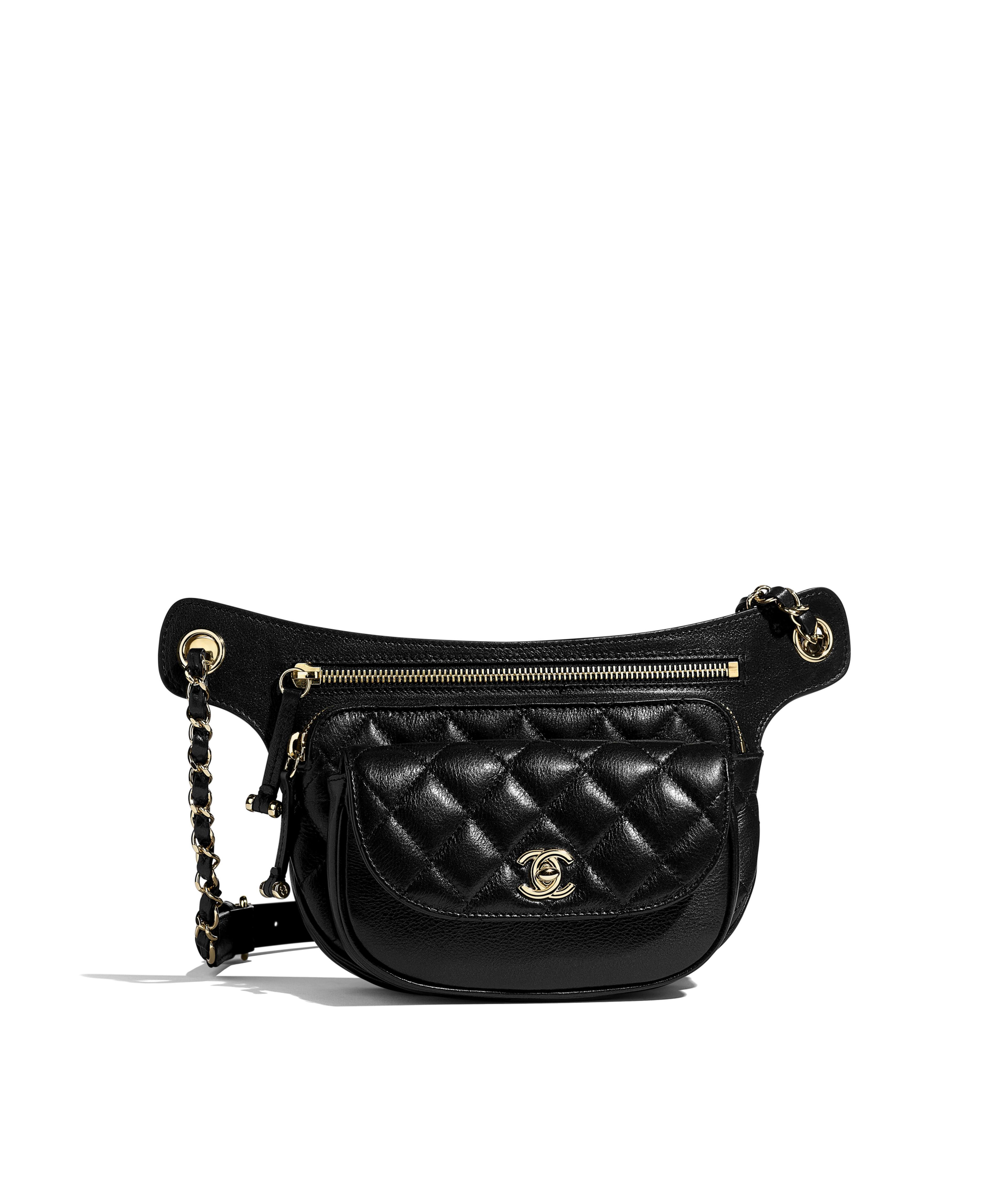 ec35153f3cb Waist Bag Metallic Aged Calfskin & Gold-Tone Metal, Black Ref.  AS0814B0083894305